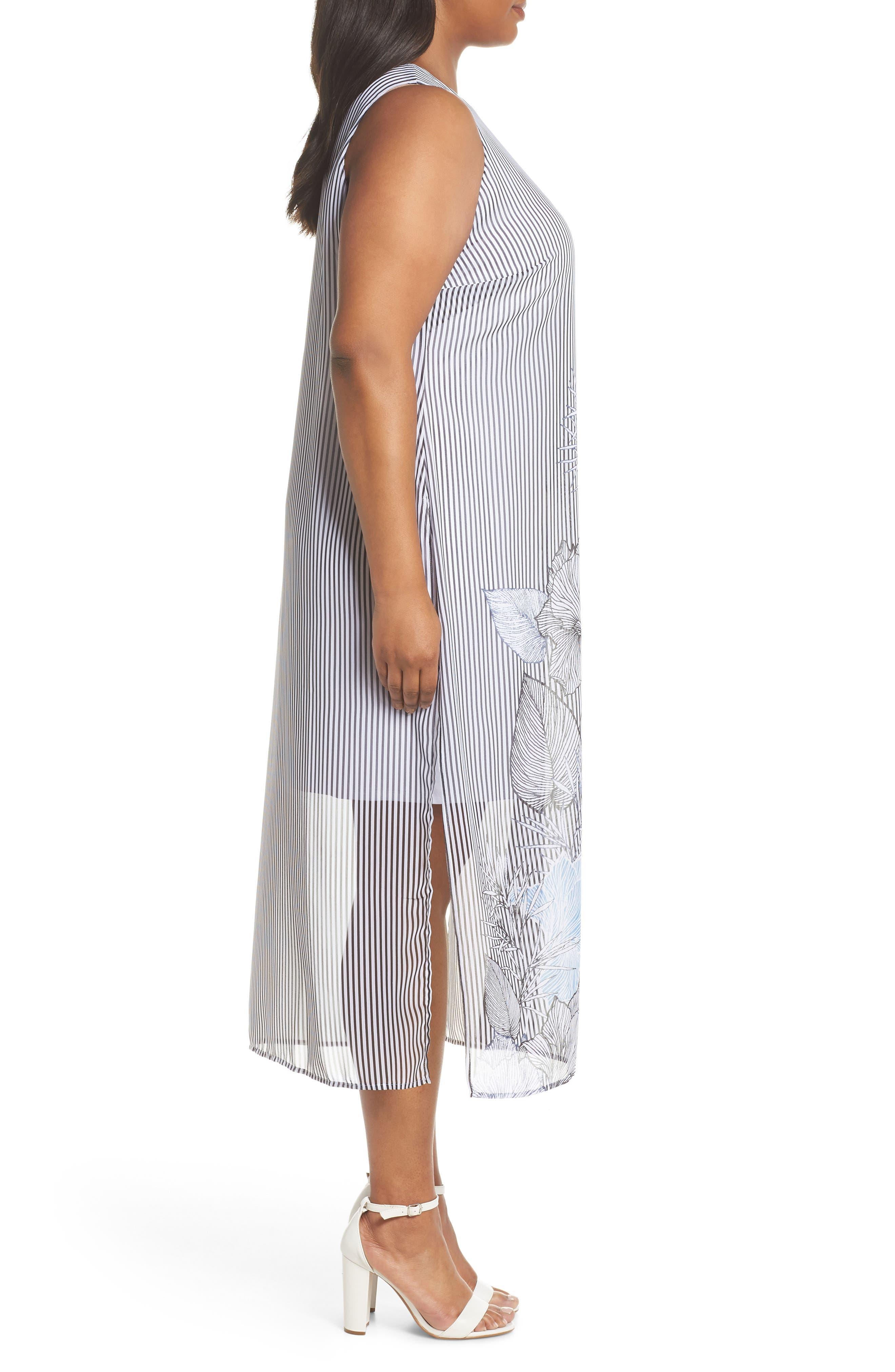 Island Floral Chiffon Maxi Dress,                             Alternate thumbnail 3, color,                             Rich Black