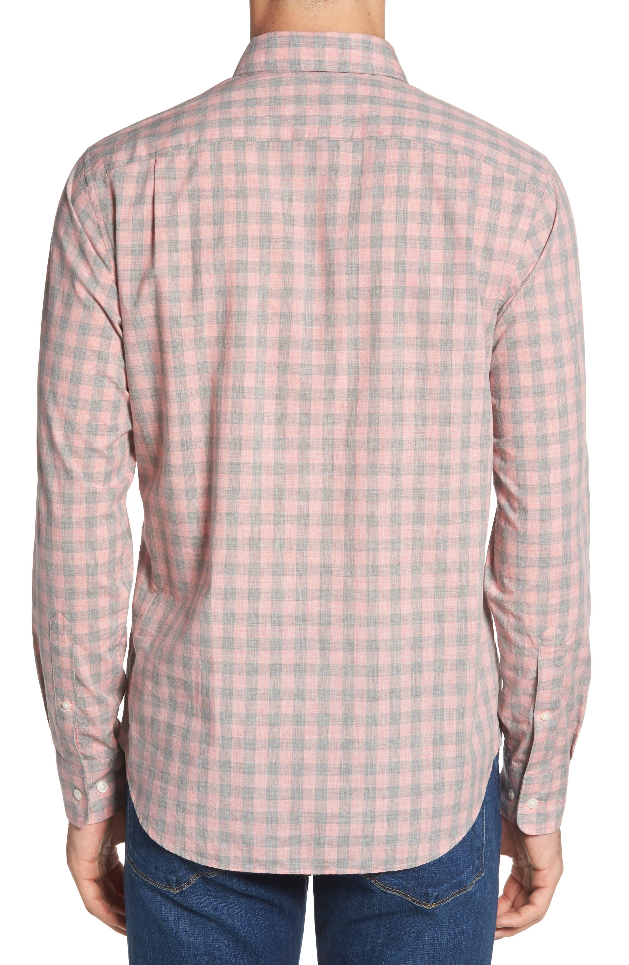 Summerweight Slim Fit Gingham Sport Shirt,                             Alternate thumbnail 4, color,                             Pine Gingham - Heather Rose