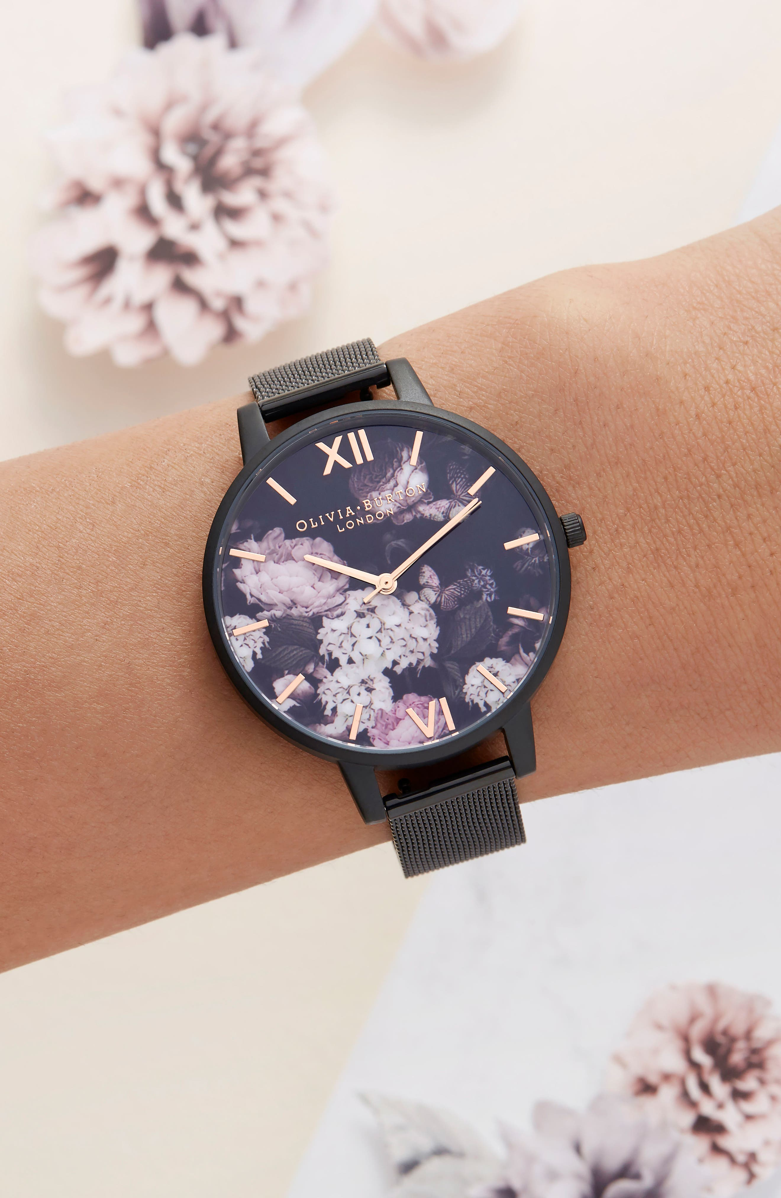 Signature Floral Mesh Strap Watch, 38mm,                             Alternate thumbnail 4, color,                             Black/ Floral/ Rose Gold