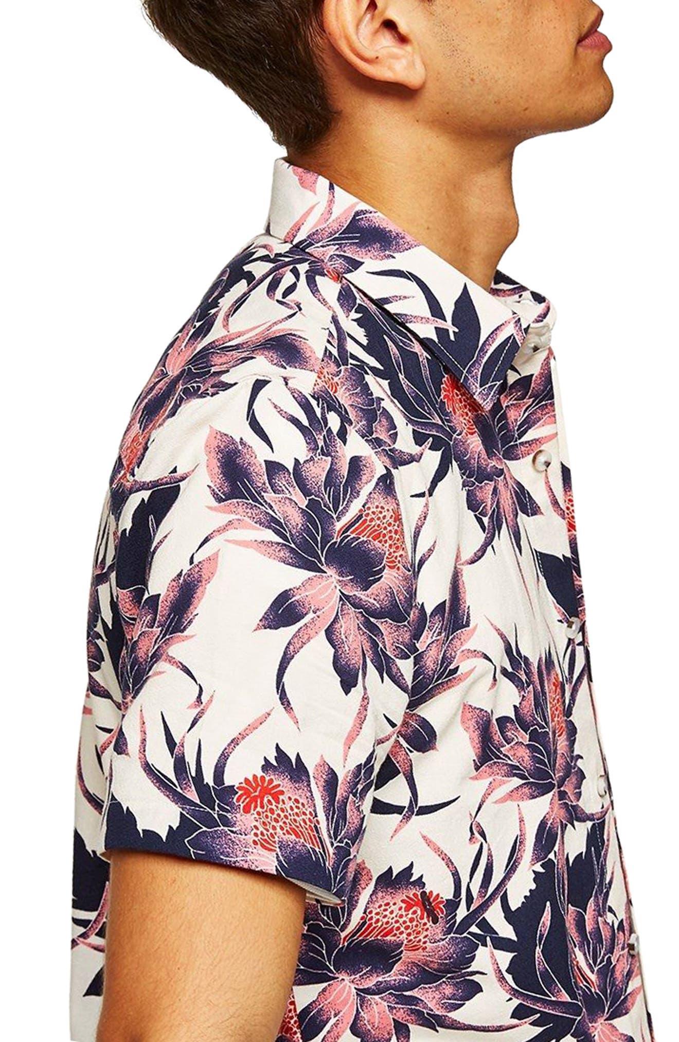 Floral Print Shirt,                             Alternate thumbnail 2, color,                             White Multi