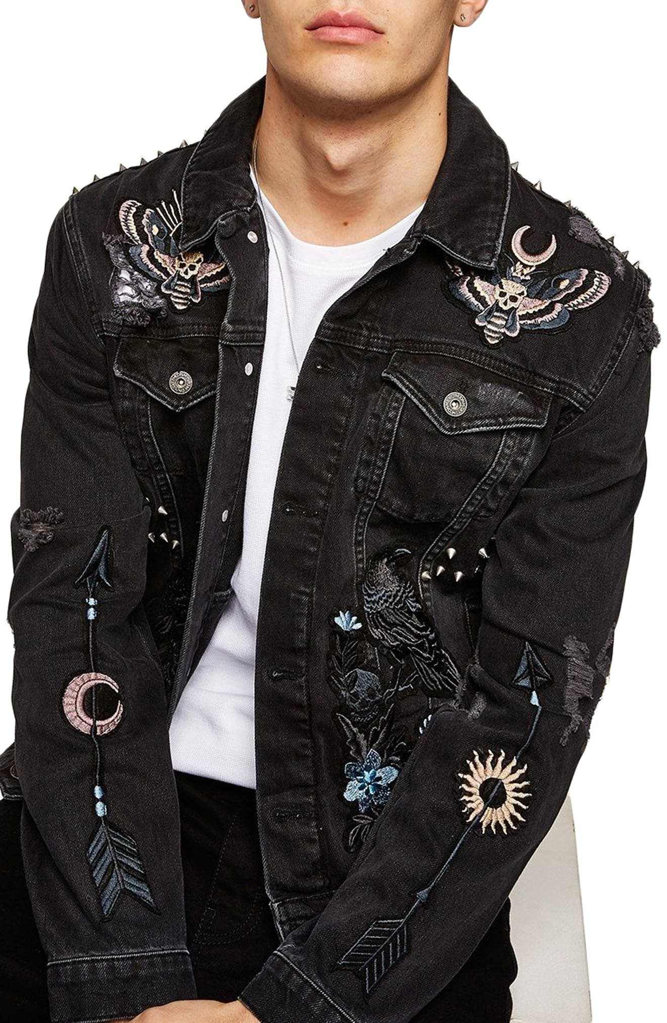 Sleepy Hollow Slim Fit Denim Jacket with Patches,                             Main thumbnail 1, color,                             Black Multi