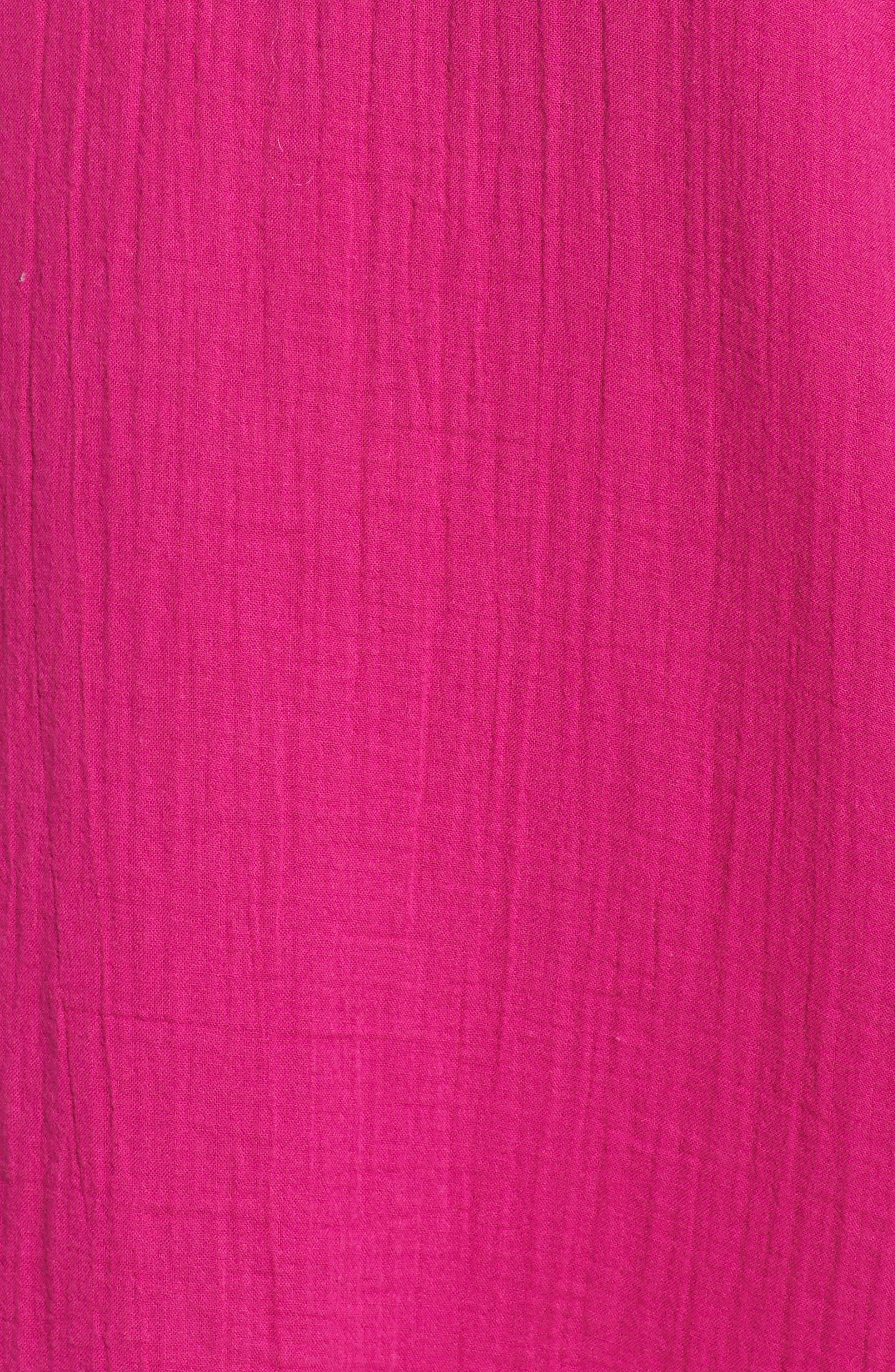 V-Neck Cotton Midi Dress,                             Alternate thumbnail 6, color,                             Cerise