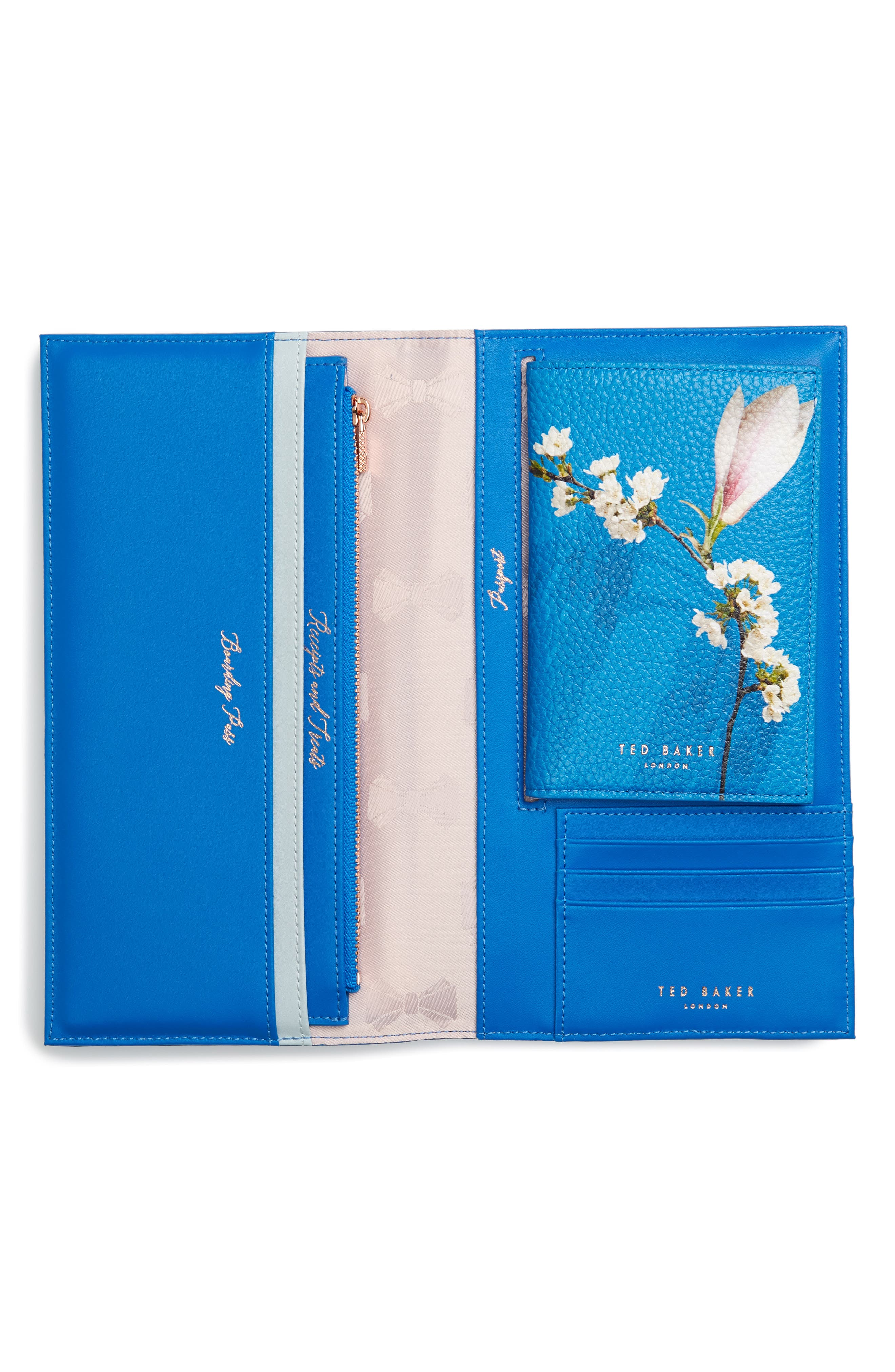 Sharon Harmony Print Leather Travel Wallet,                             Alternate thumbnail 4, color,                             Bright Blue
