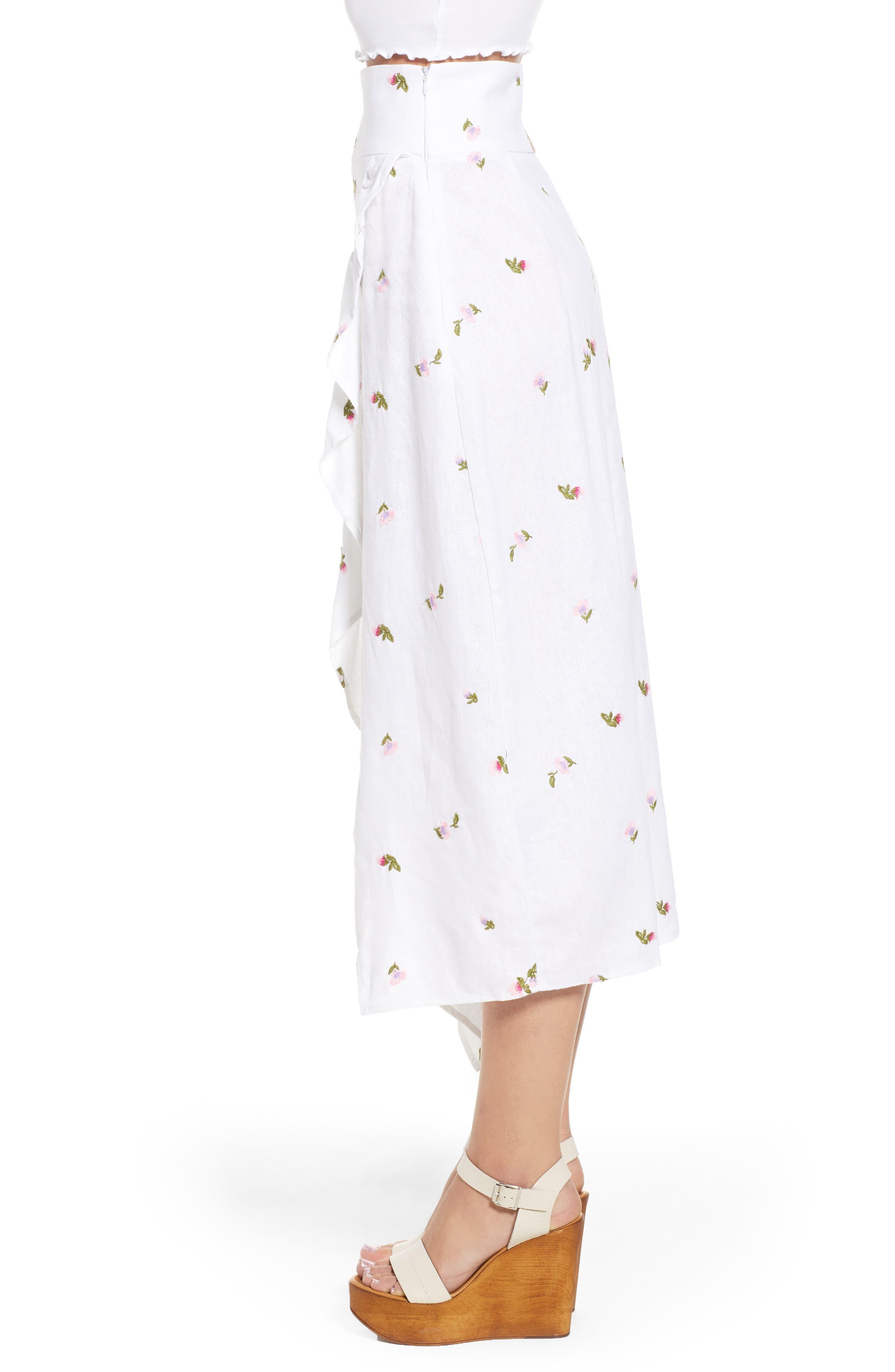 Sunset Midi Skirt,                             Alternate thumbnail 3, color,                             Ditsy Embroidery