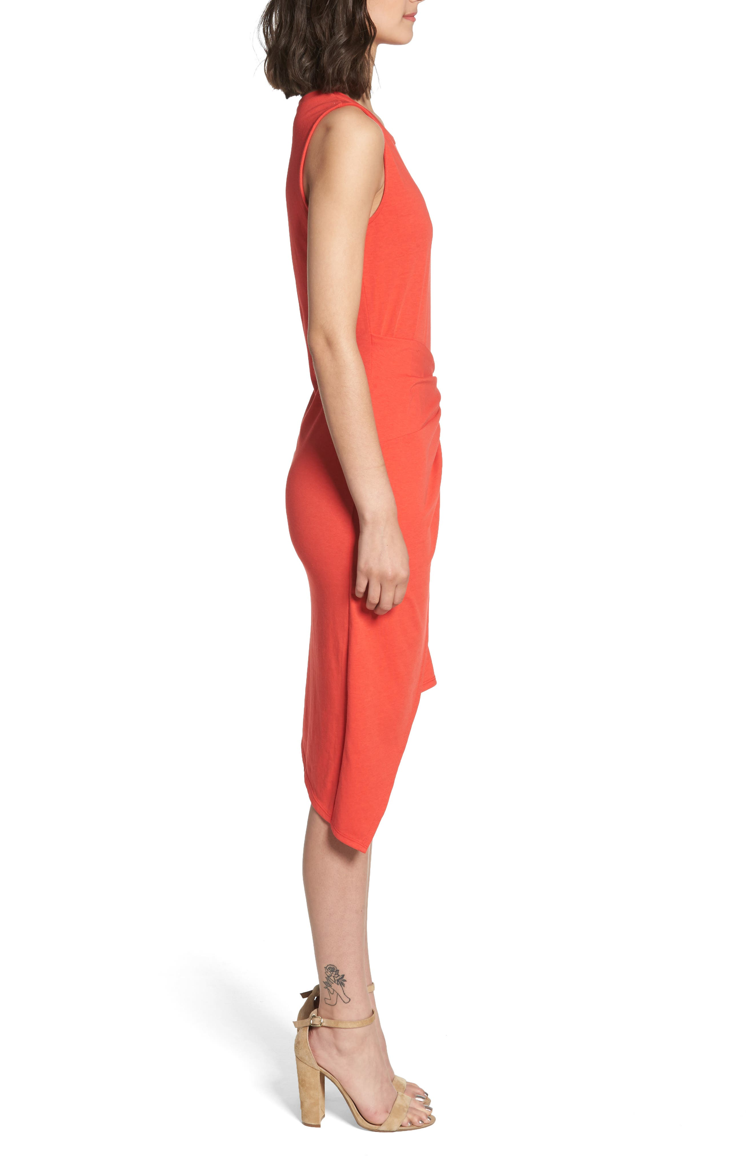Twist Front Dress,                             Alternate thumbnail 3, color,                             Red Poppy