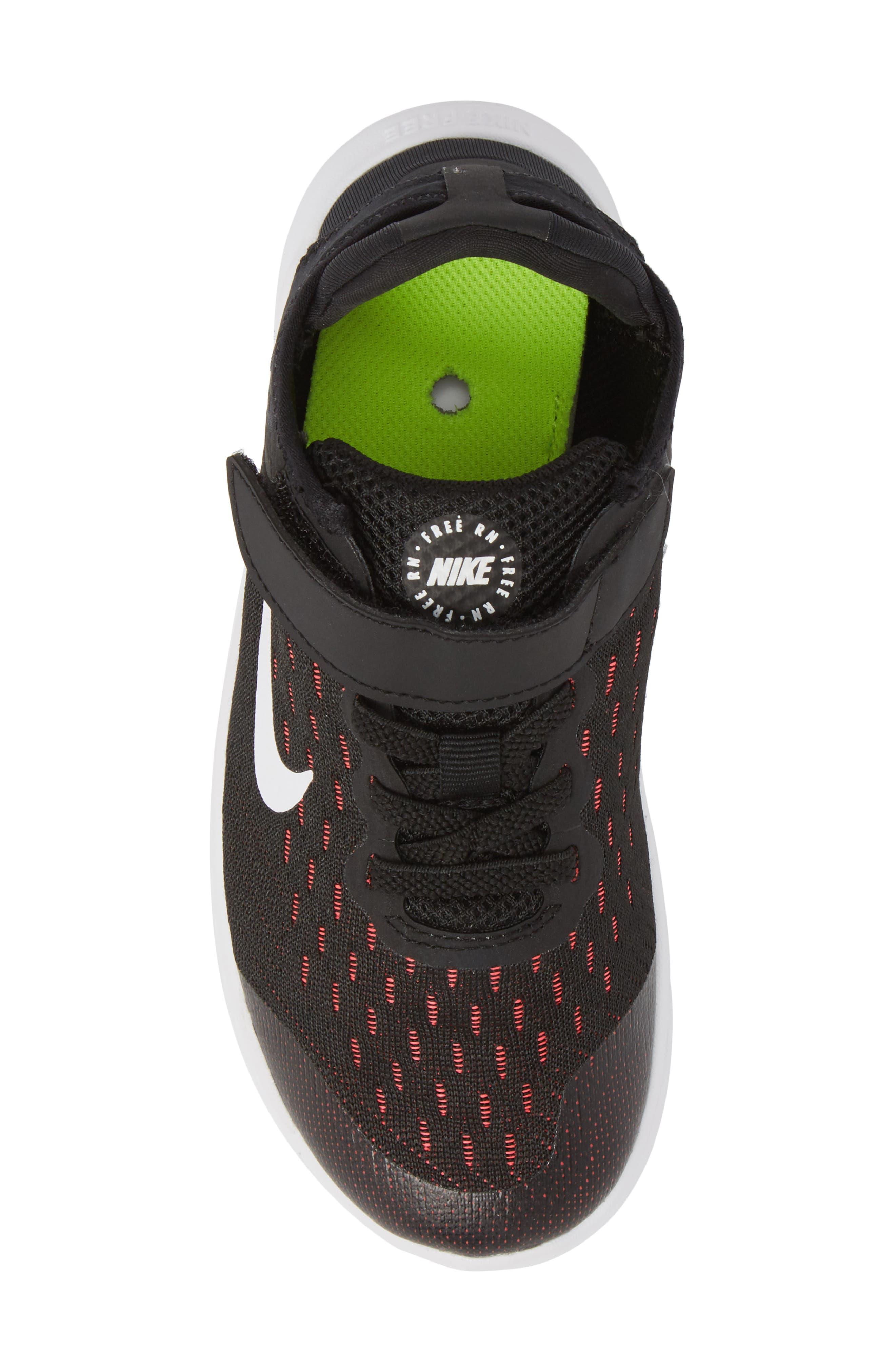 Free RN Running Shoe,                             Alternate thumbnail 5, color,                             Black/ White/ Pink/ Volt