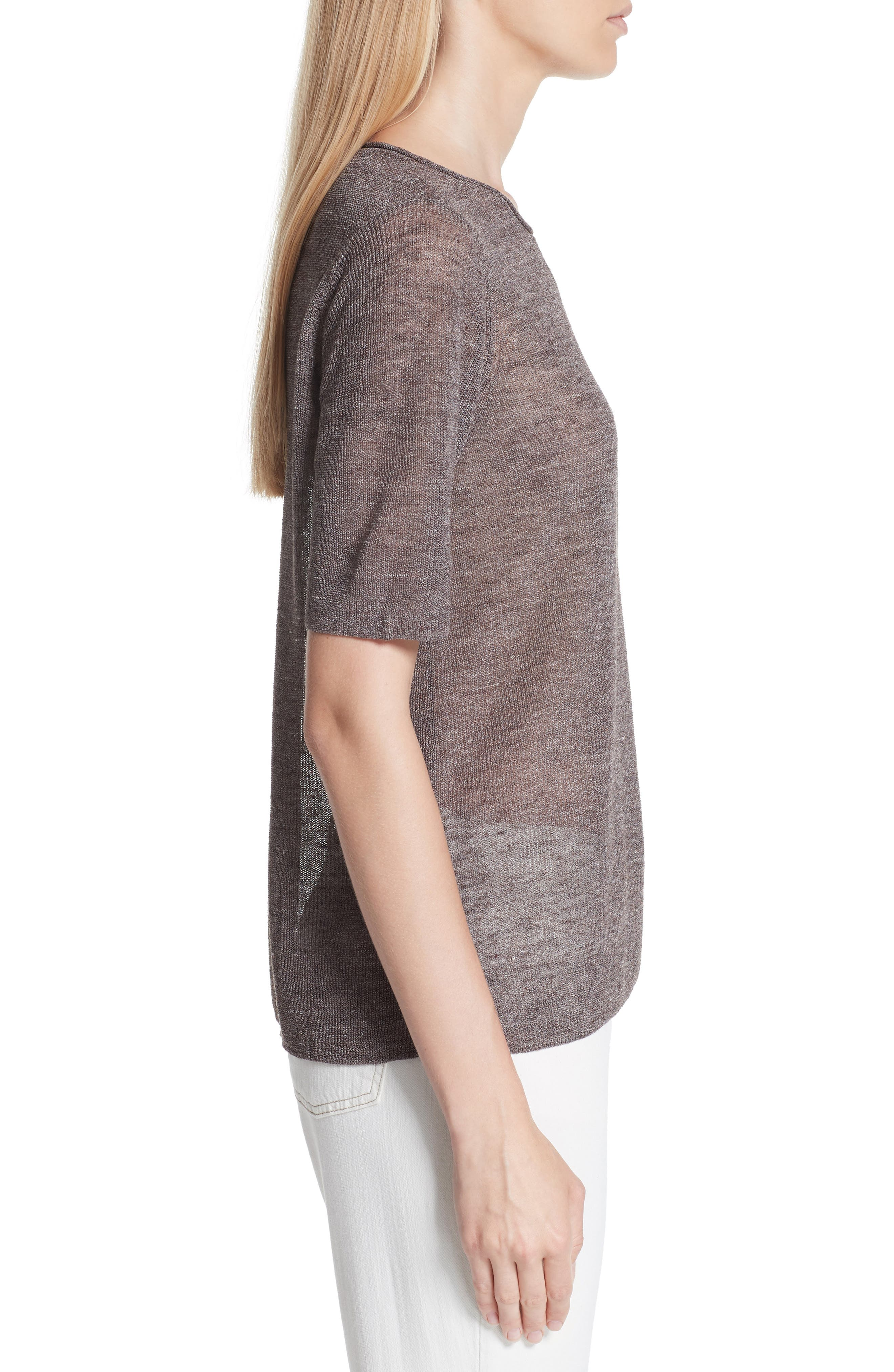 Short Sleeve Linen Blend Sweater,                             Alternate thumbnail 3, color,                             Rye