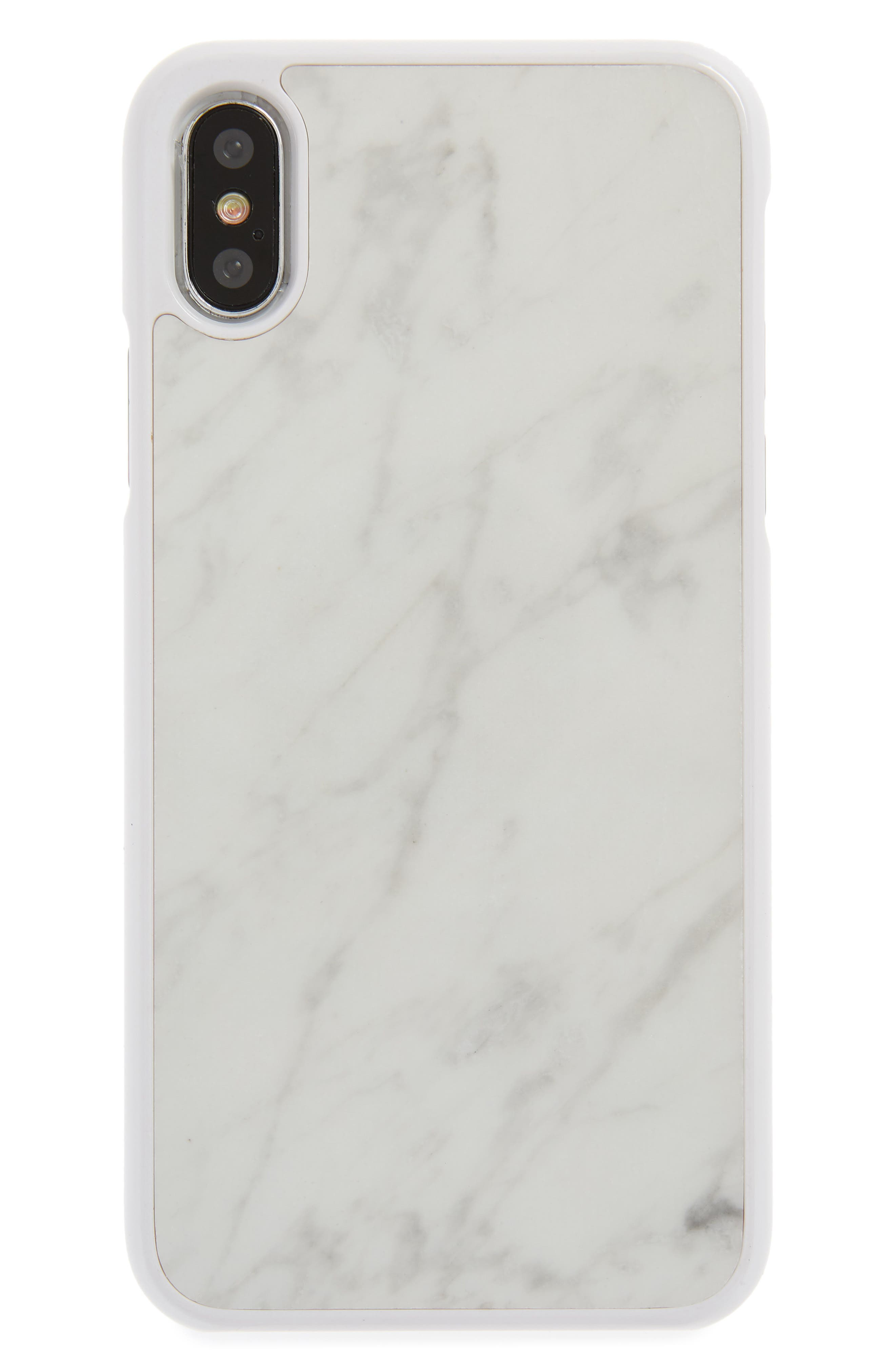 Genuine White Marble iPhone X Case,                             Main thumbnail 1, color,                             White