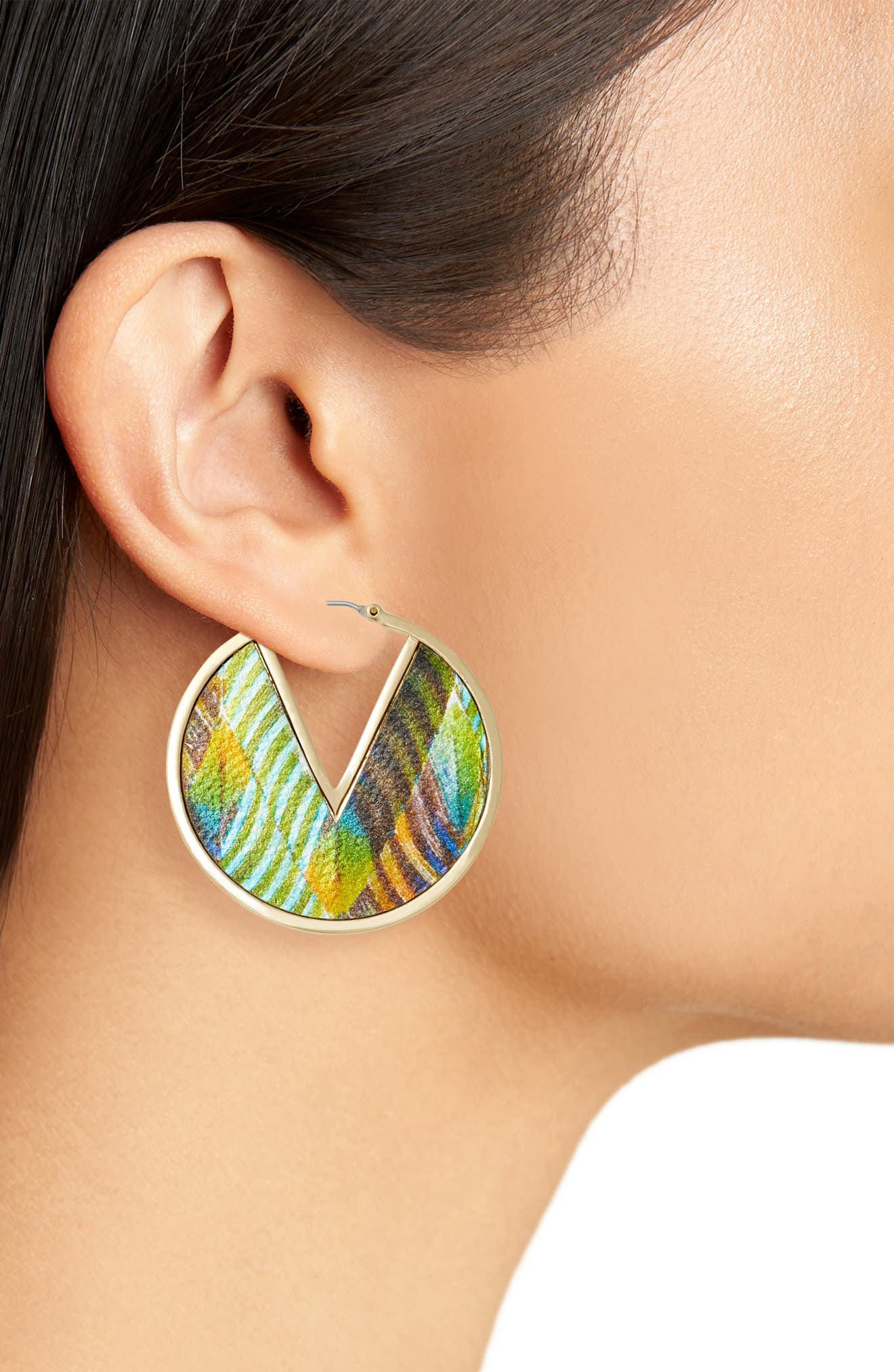 Inlaid Leather Click Top Hoop Earrings,                             Alternate thumbnail 2, color,                             Gold