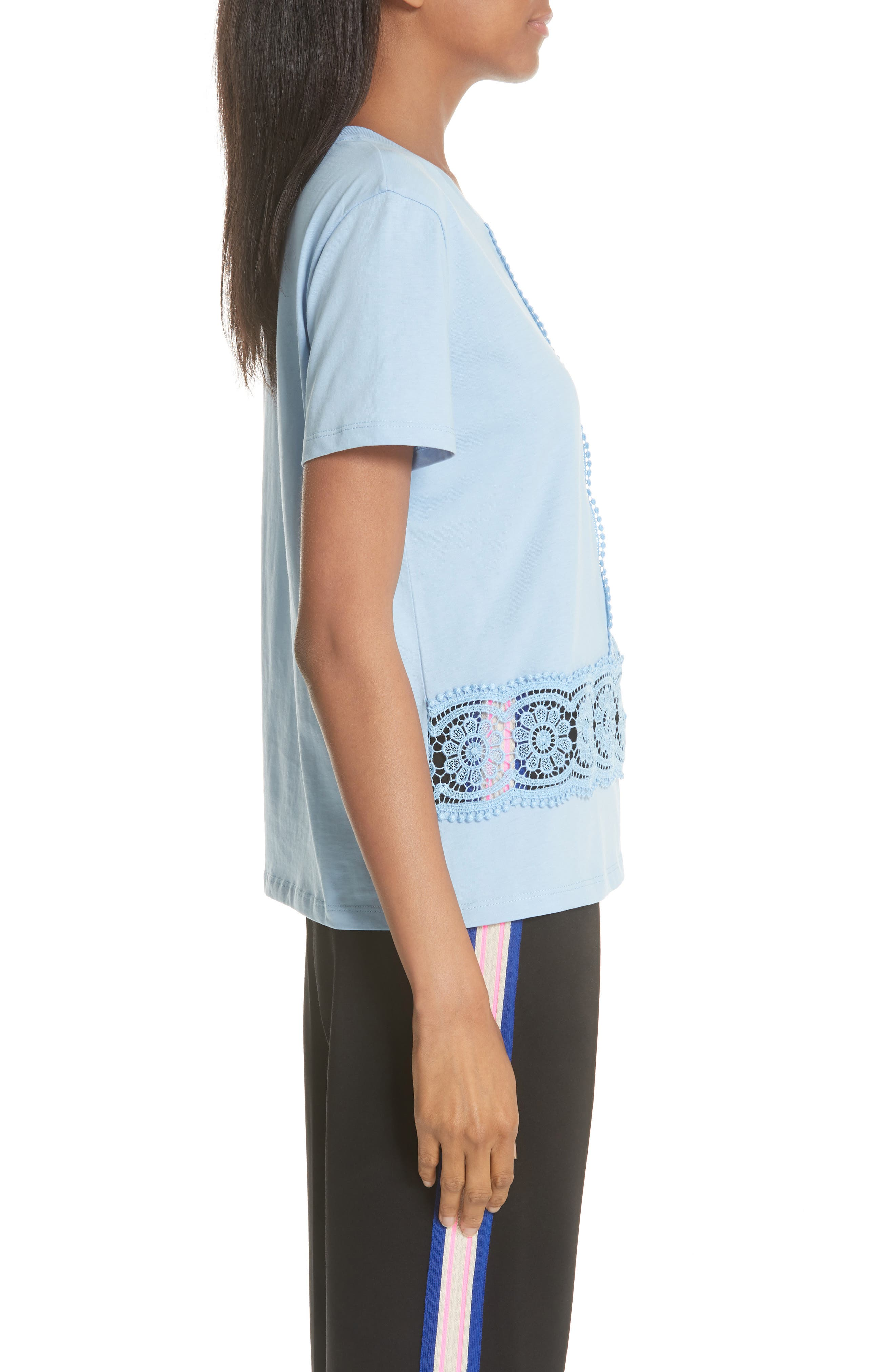 Lace Inset Cotton Top,                             Alternate thumbnail 3, color,                             Bleu Ciel