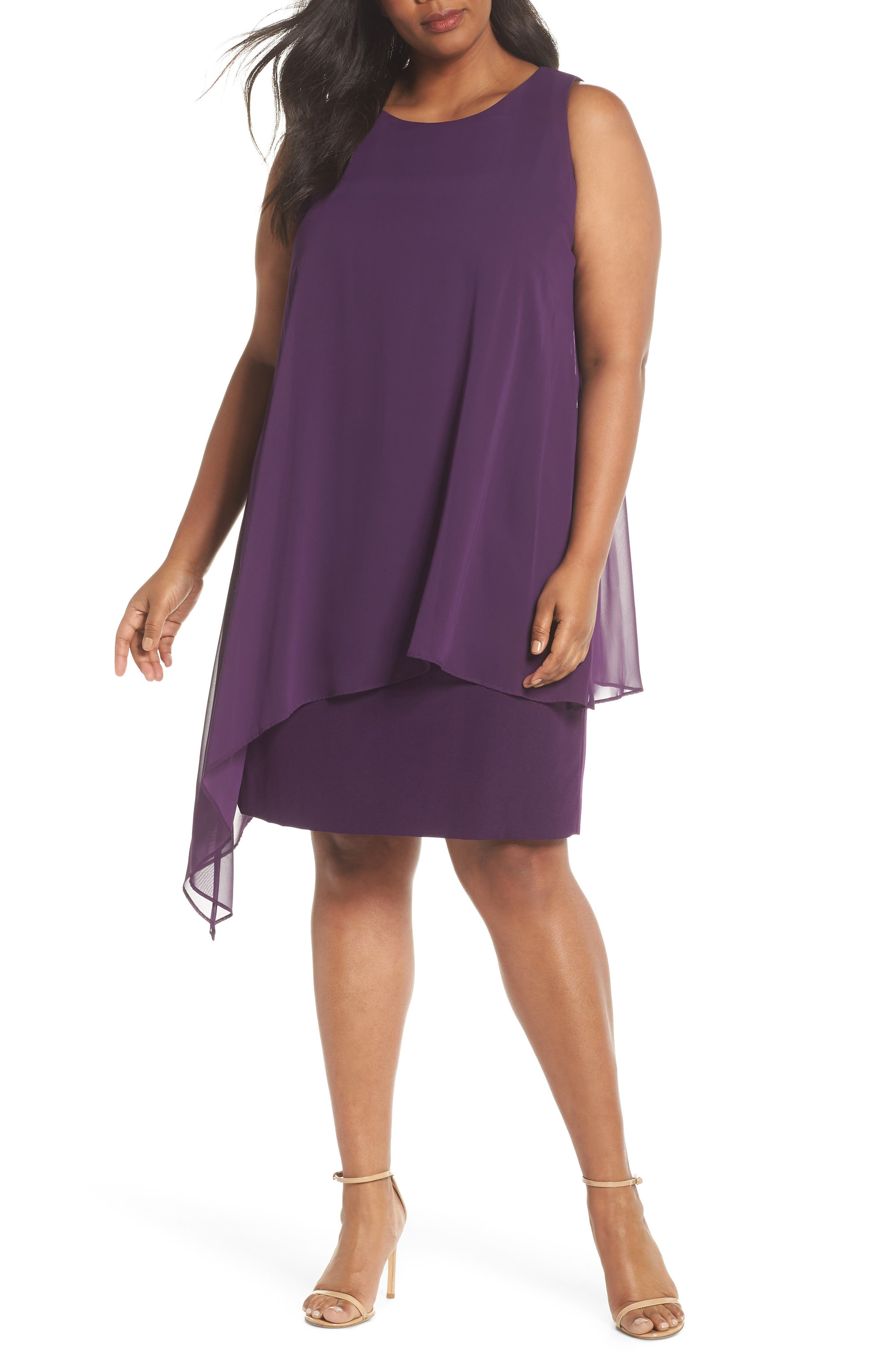 Chiffon Overlay Sheath Dress,                             Main thumbnail 1, color,                             Plum
