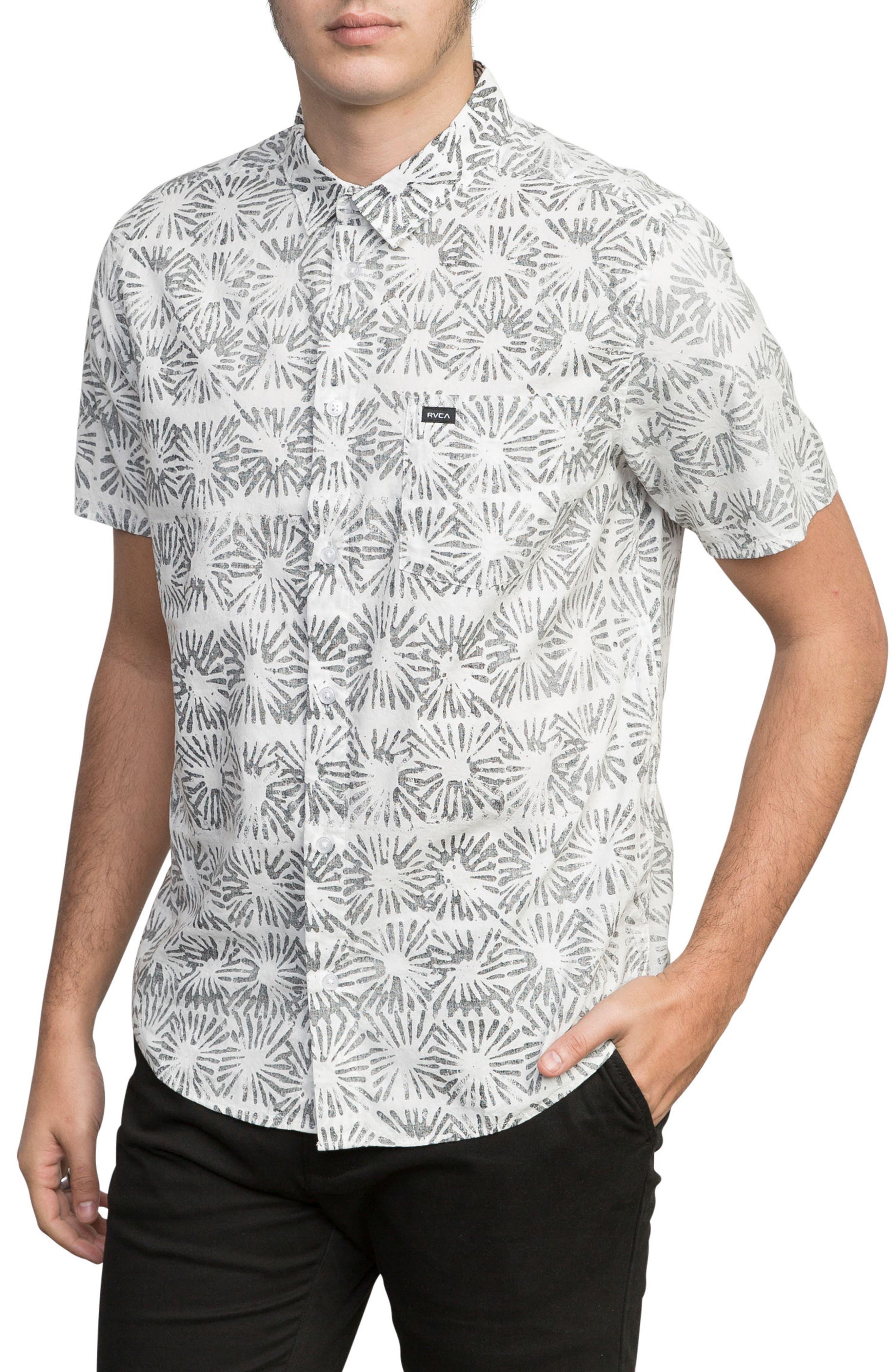 Flower Block Woven Shirt,                             Alternate thumbnail 3, color,                             White