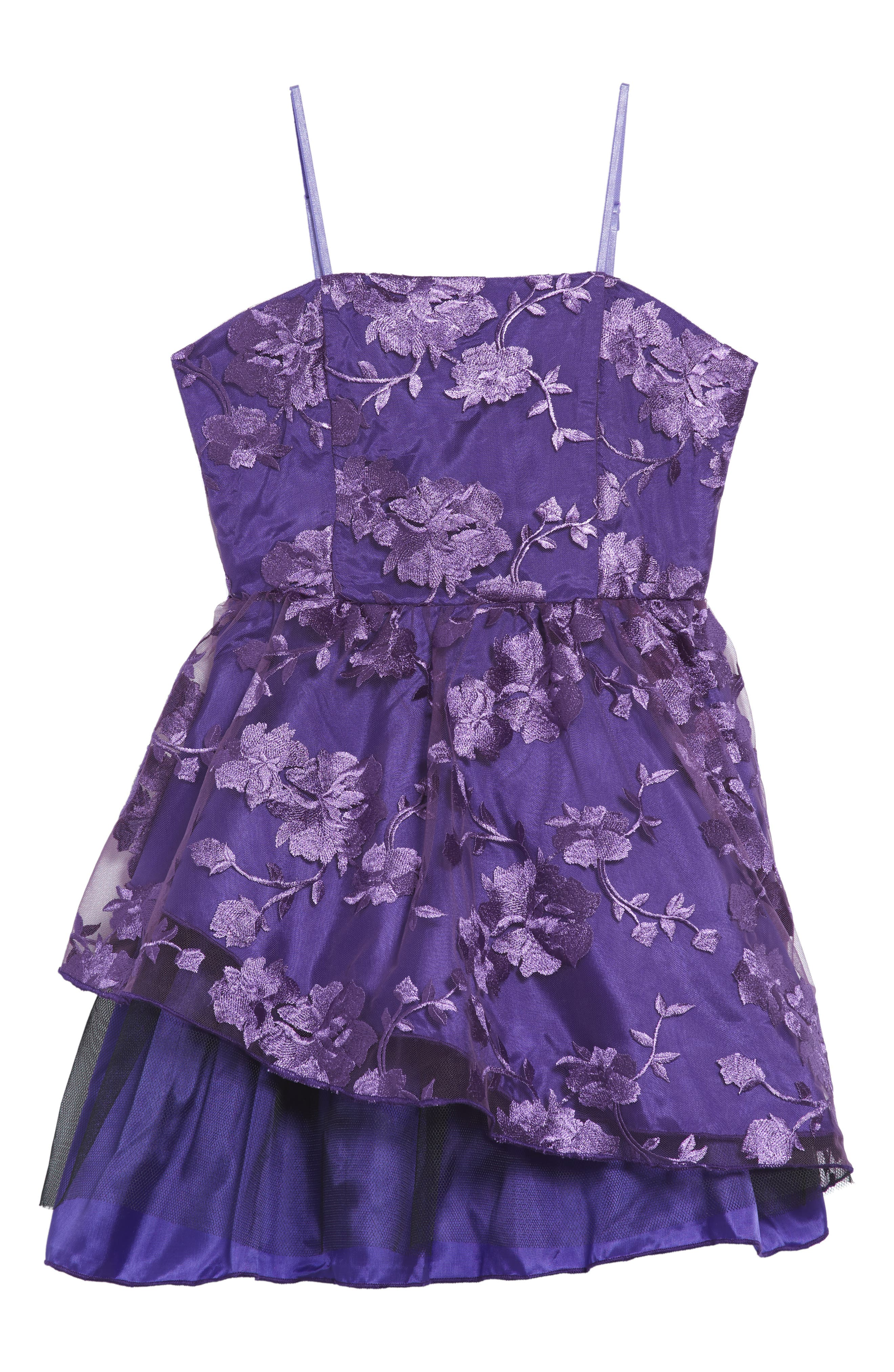 Floral Mesh Sleeveless Dress,                         Main,                         color, Plum