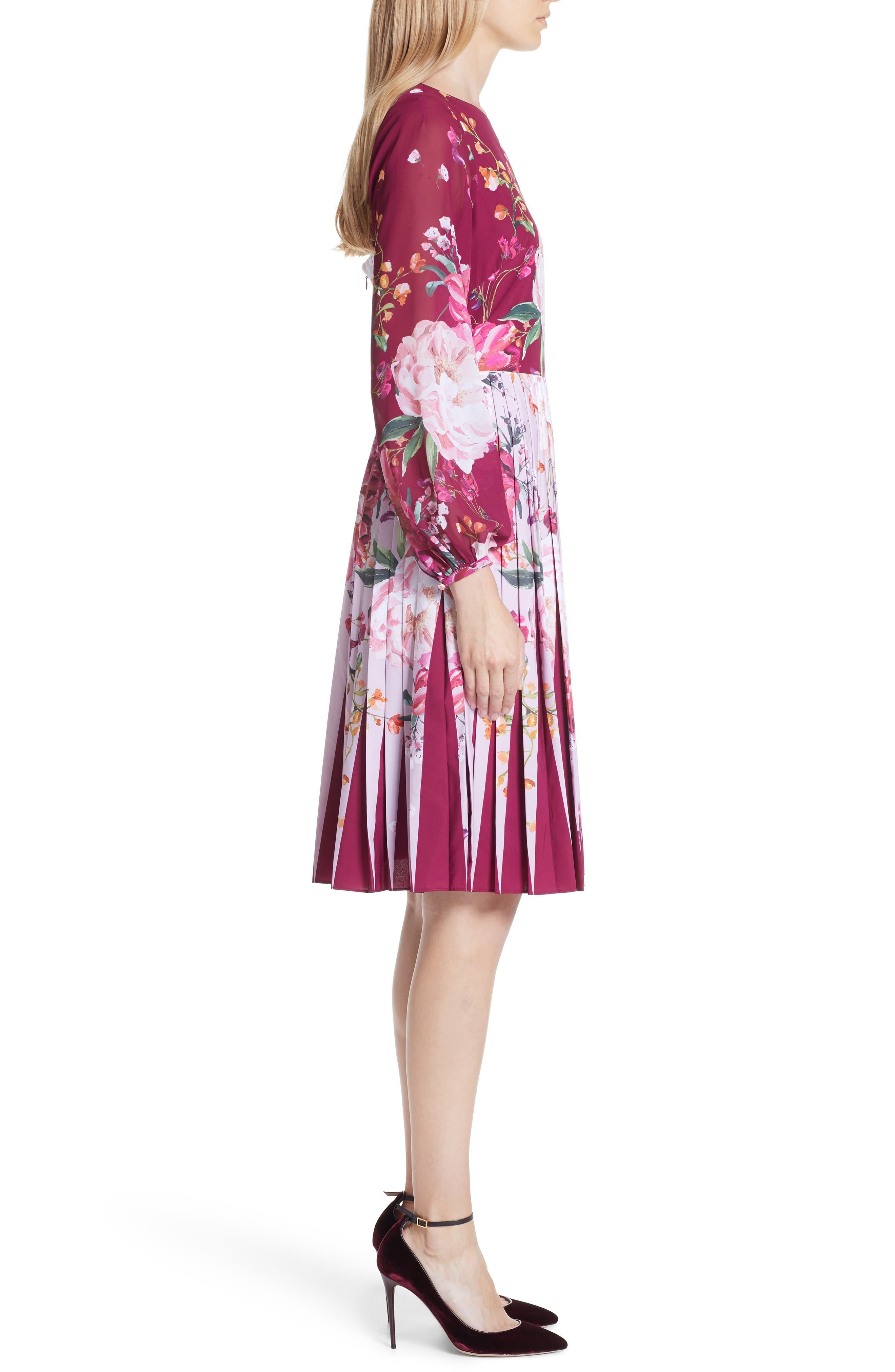 Esperan Serenity Contrast Pleated Skirt Dress,                             Alternate thumbnail 3, color,                             Maroon