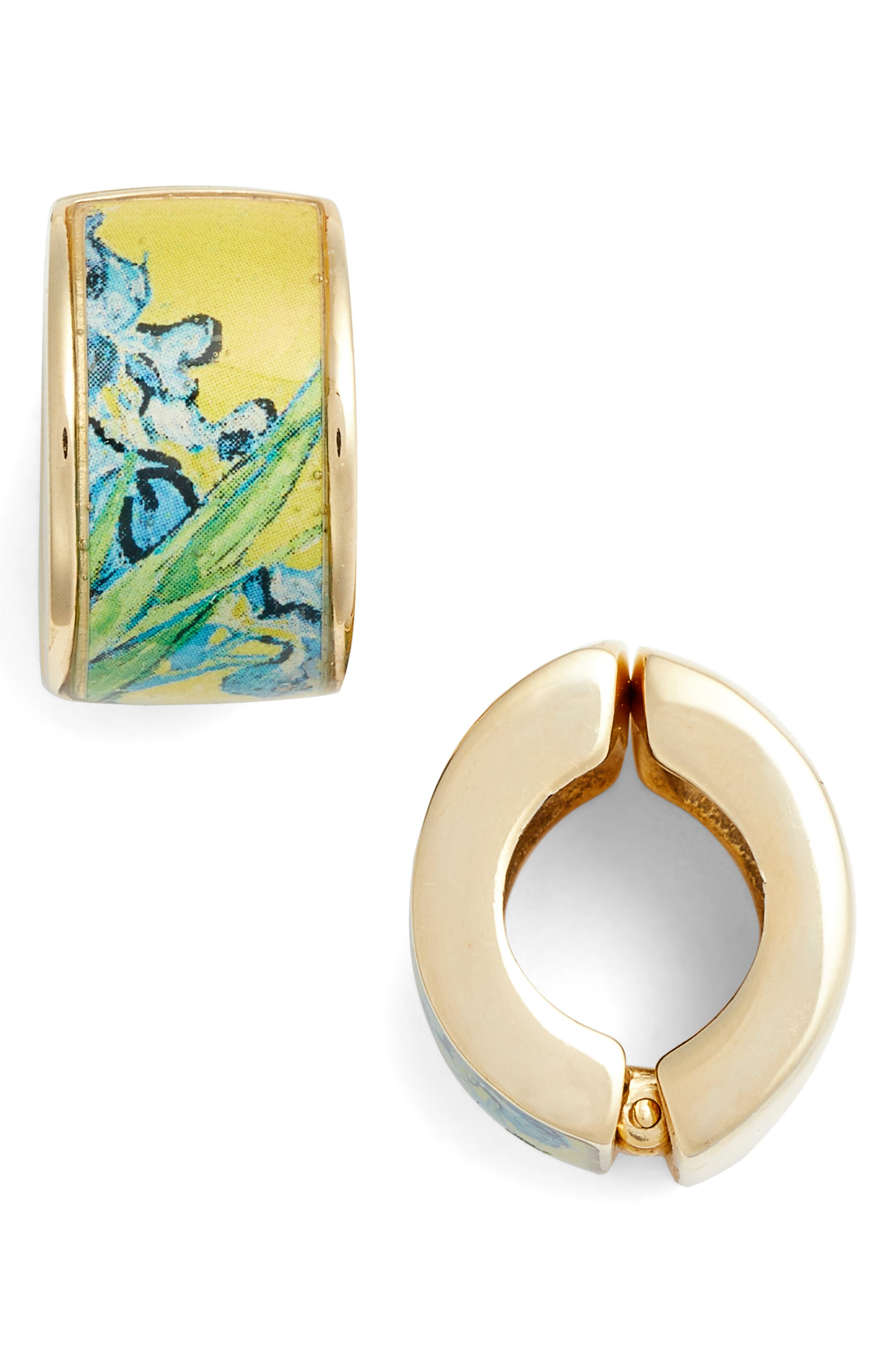 Goldtone Irises Clip-on Earrings,                             Main thumbnail 1, color,                             Yellow/ Gold