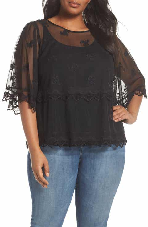 Vince Camuto Scallop Trim Embroidered Mesh Top (Plus Size)