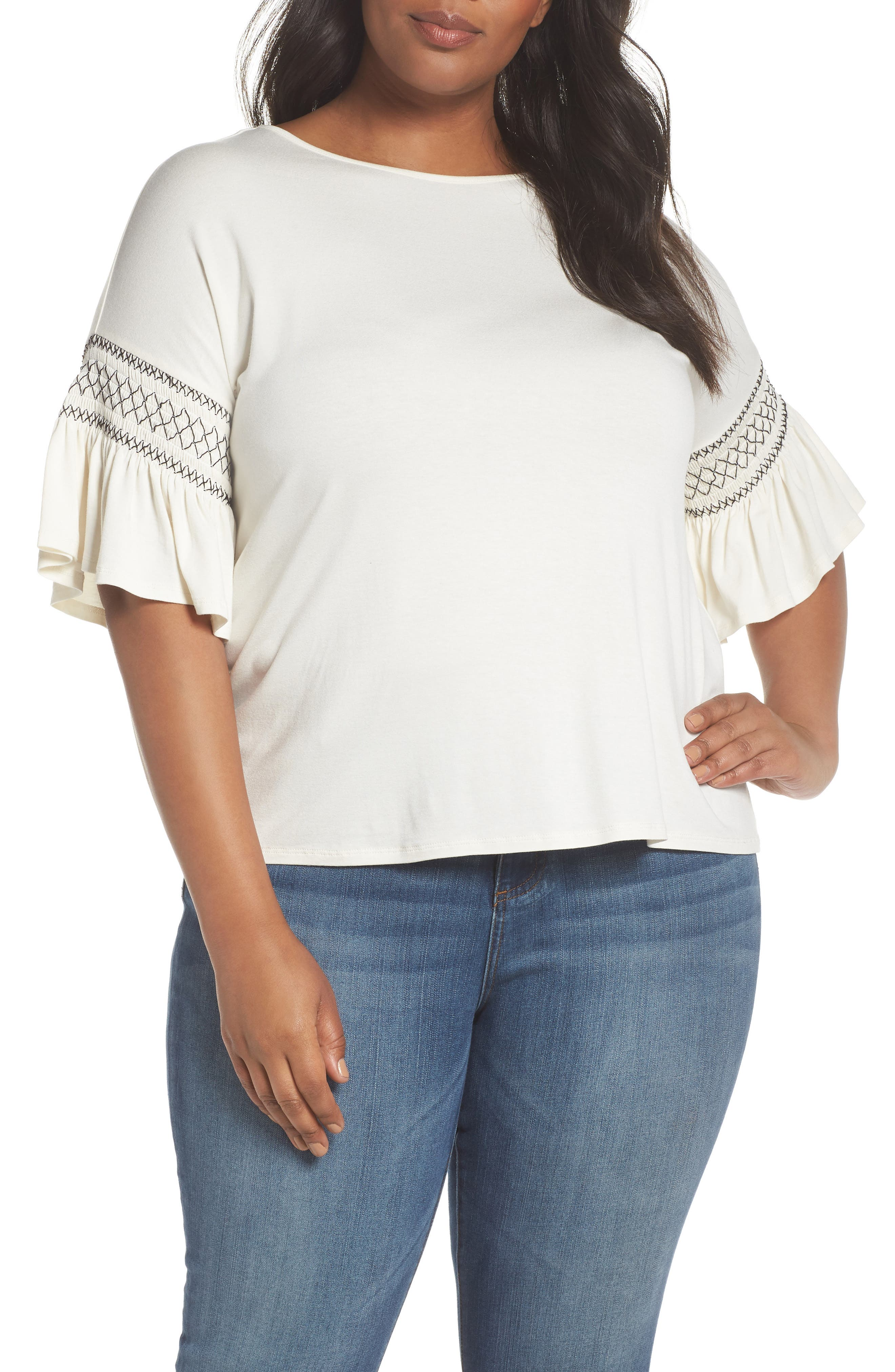 Smocked Ruffle Sleeve Top,                         Main,                         color, Antique White