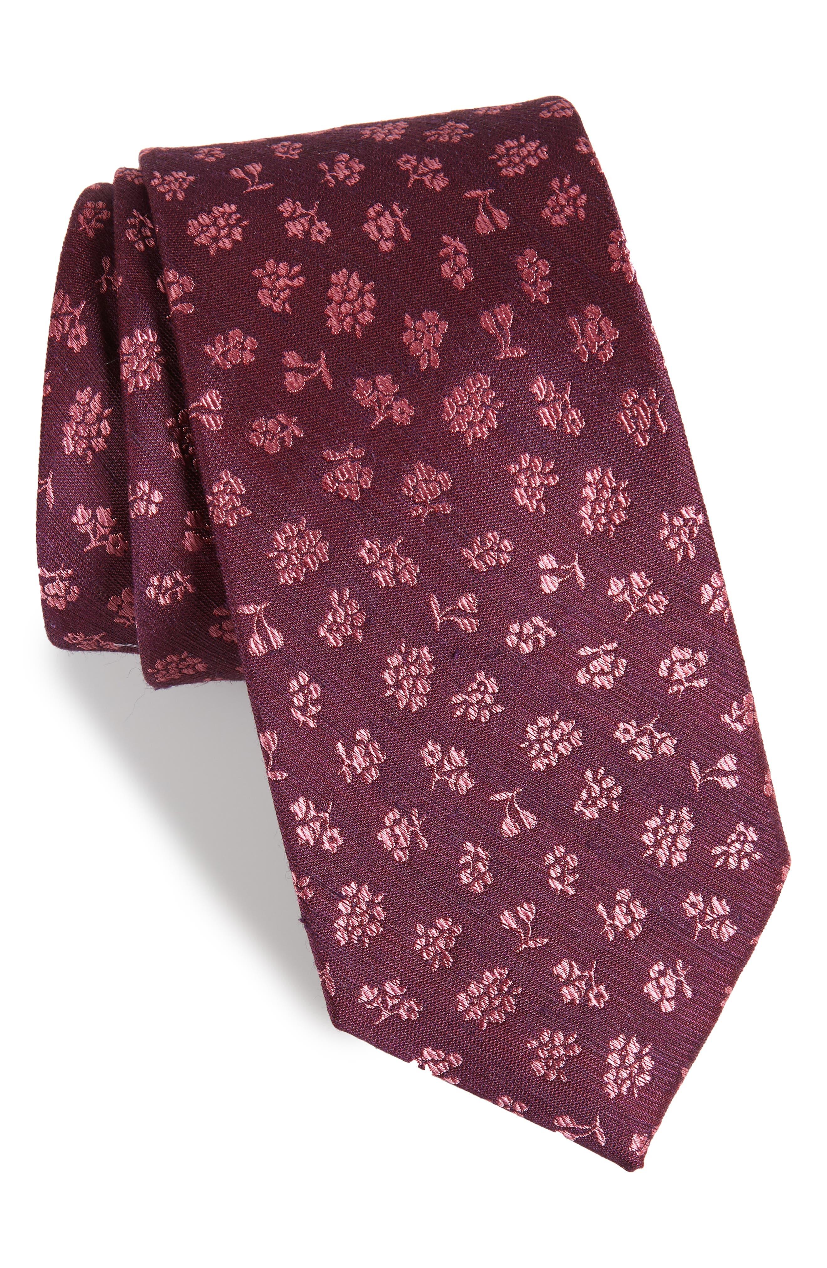 Fruta Floral Silk & Linen Tie,                             Main thumbnail 1, color,                             Wine