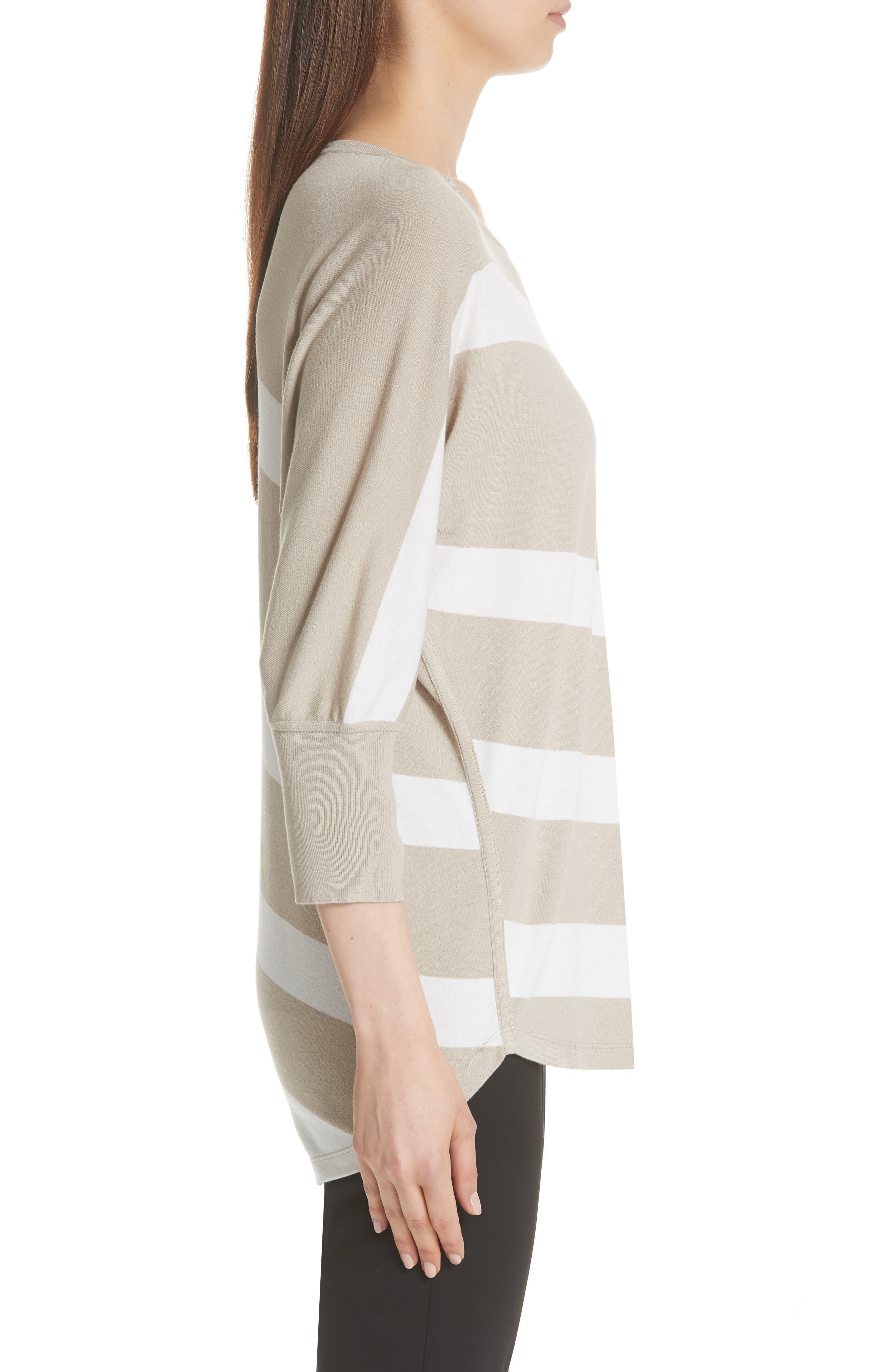 Stripe Sweater,                             Alternate thumbnail 3, color,                             Khaki/ Cloud