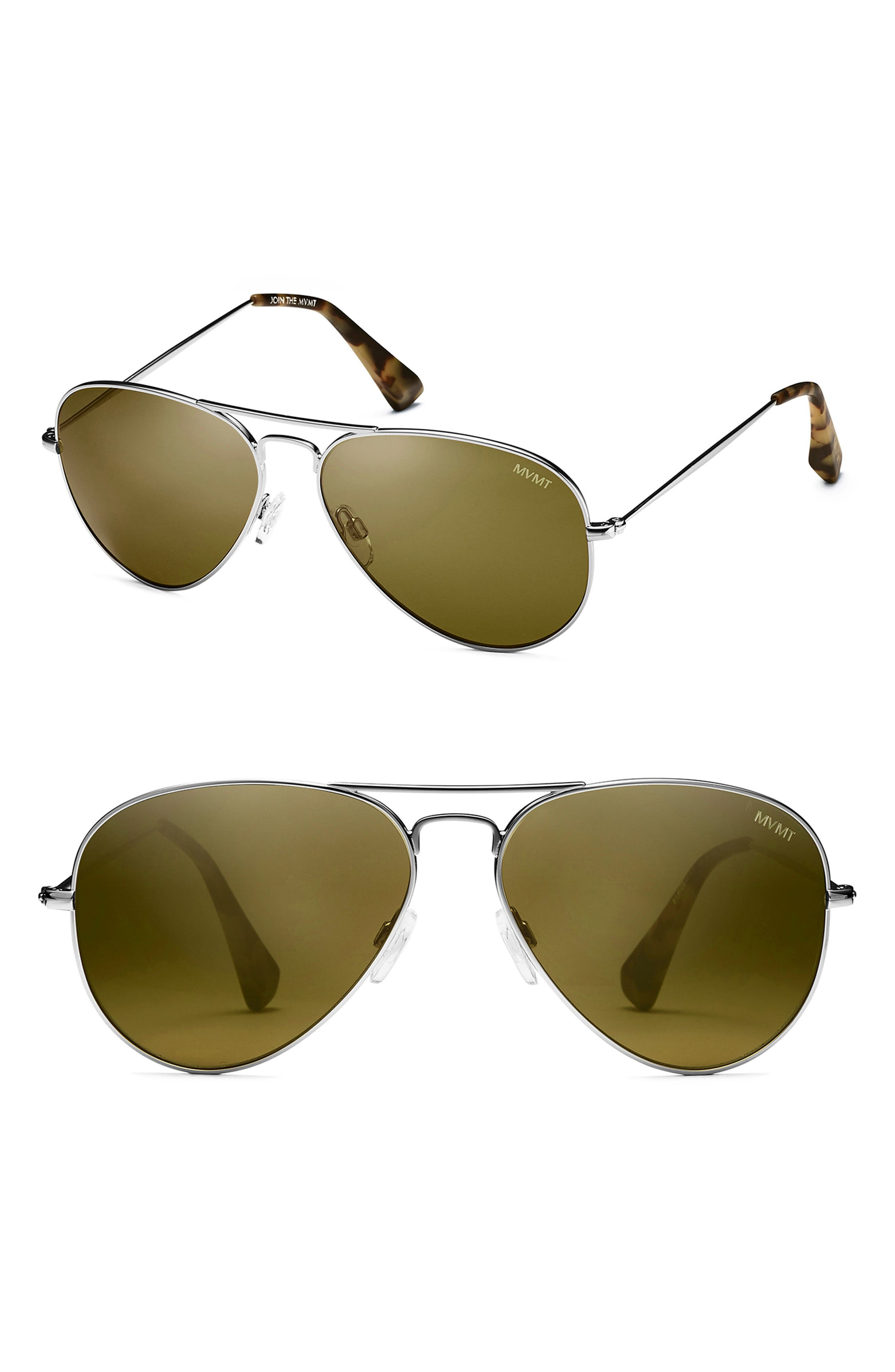 MVMT RUNWAY 60MM POLARIZED AVIATOR SUNGLASSES - BRUSHED SILVER