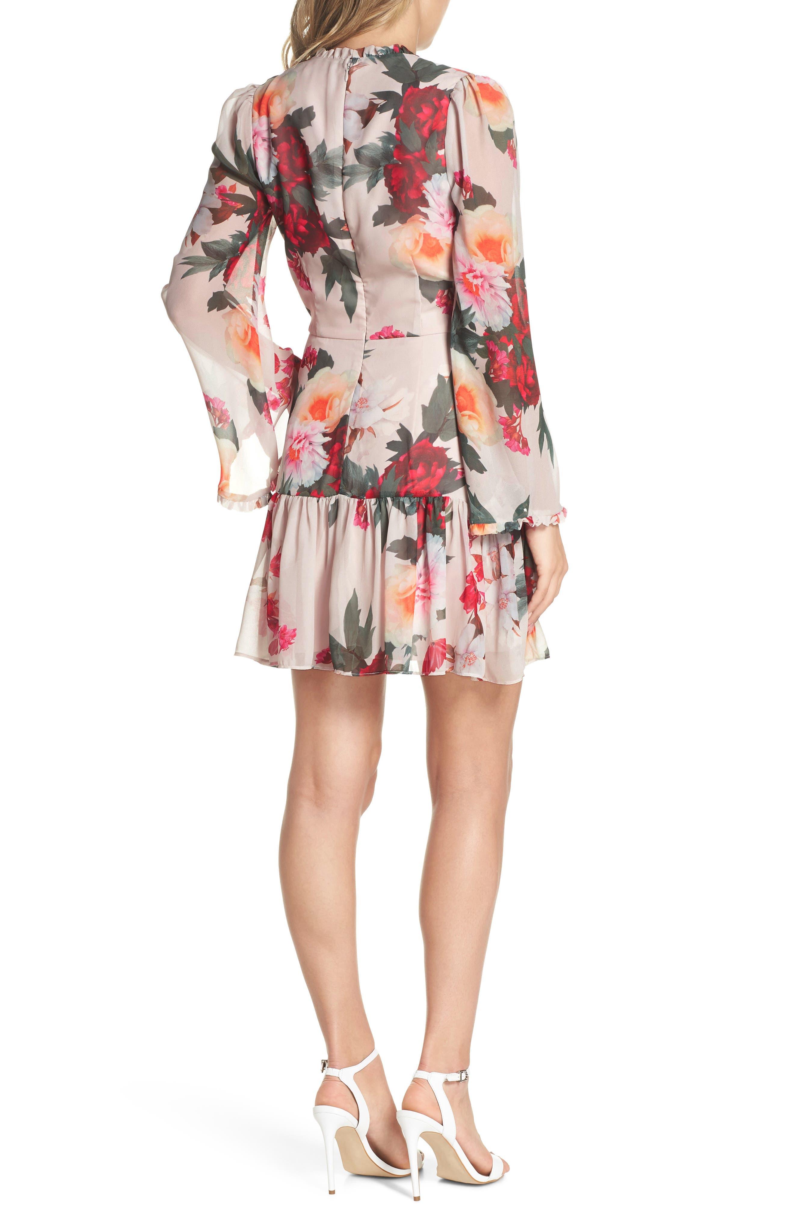 Rosa Floral Chiffon Dress,                             Alternate thumbnail 2, color,                             Print