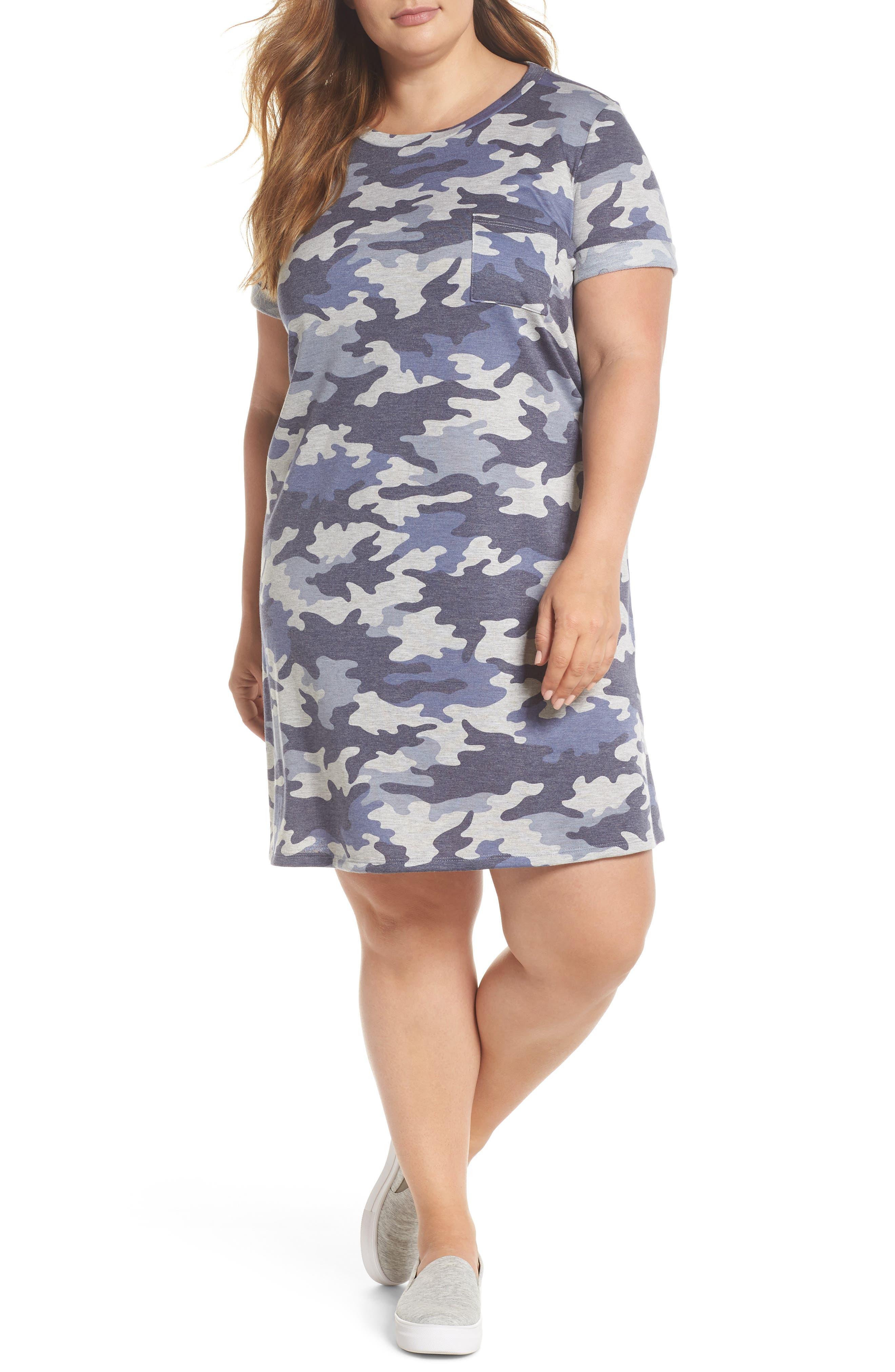 Camo T-Shirt Dress,                         Main,                         color, Blue Camo