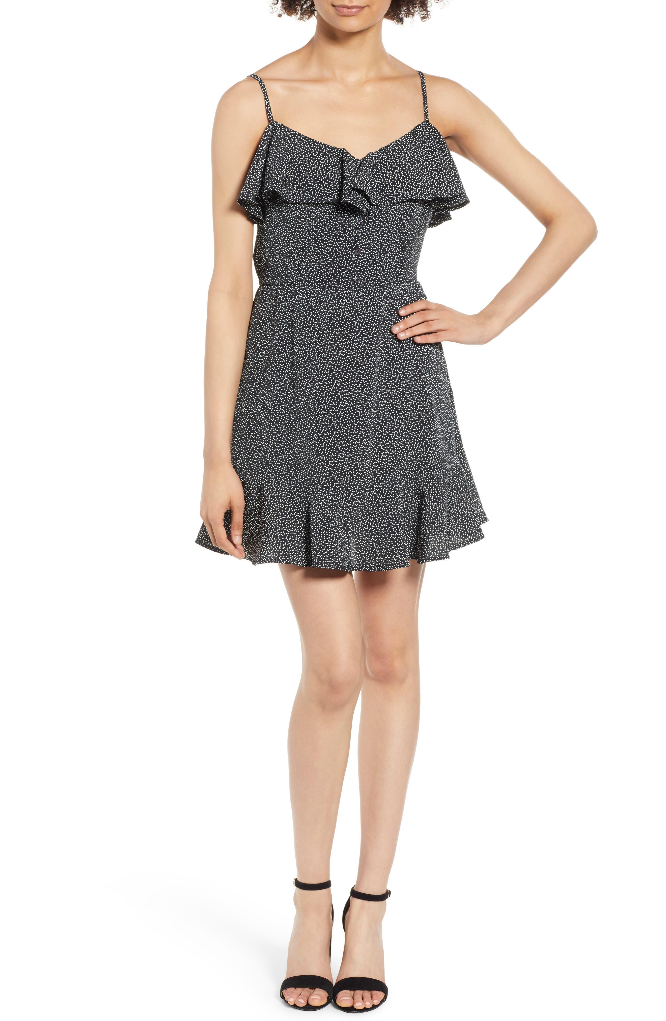 Button Front Frilly Dot Dress,                             Main thumbnail 1, color,                             Black Ground Polka Dot