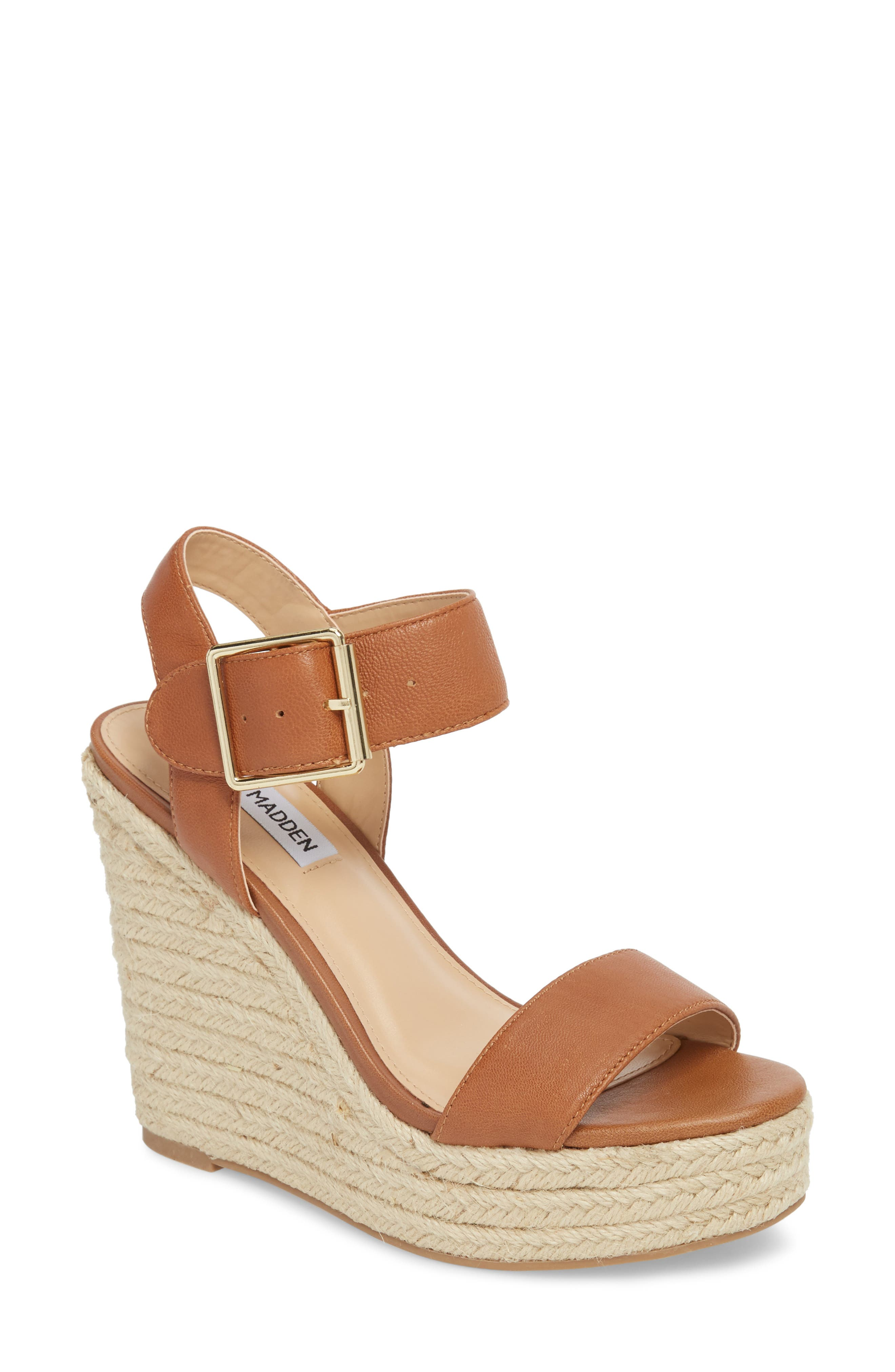 Topshop Tan Leather Wedges Sandals Size 7