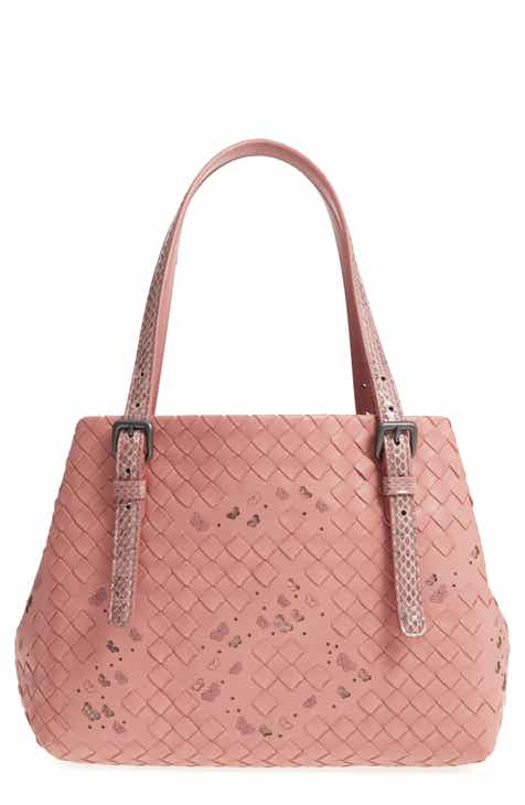 Bottega Veneta Medium Cesta Embroidered Butterfly Leather & Genuine Snakeskin Handbag