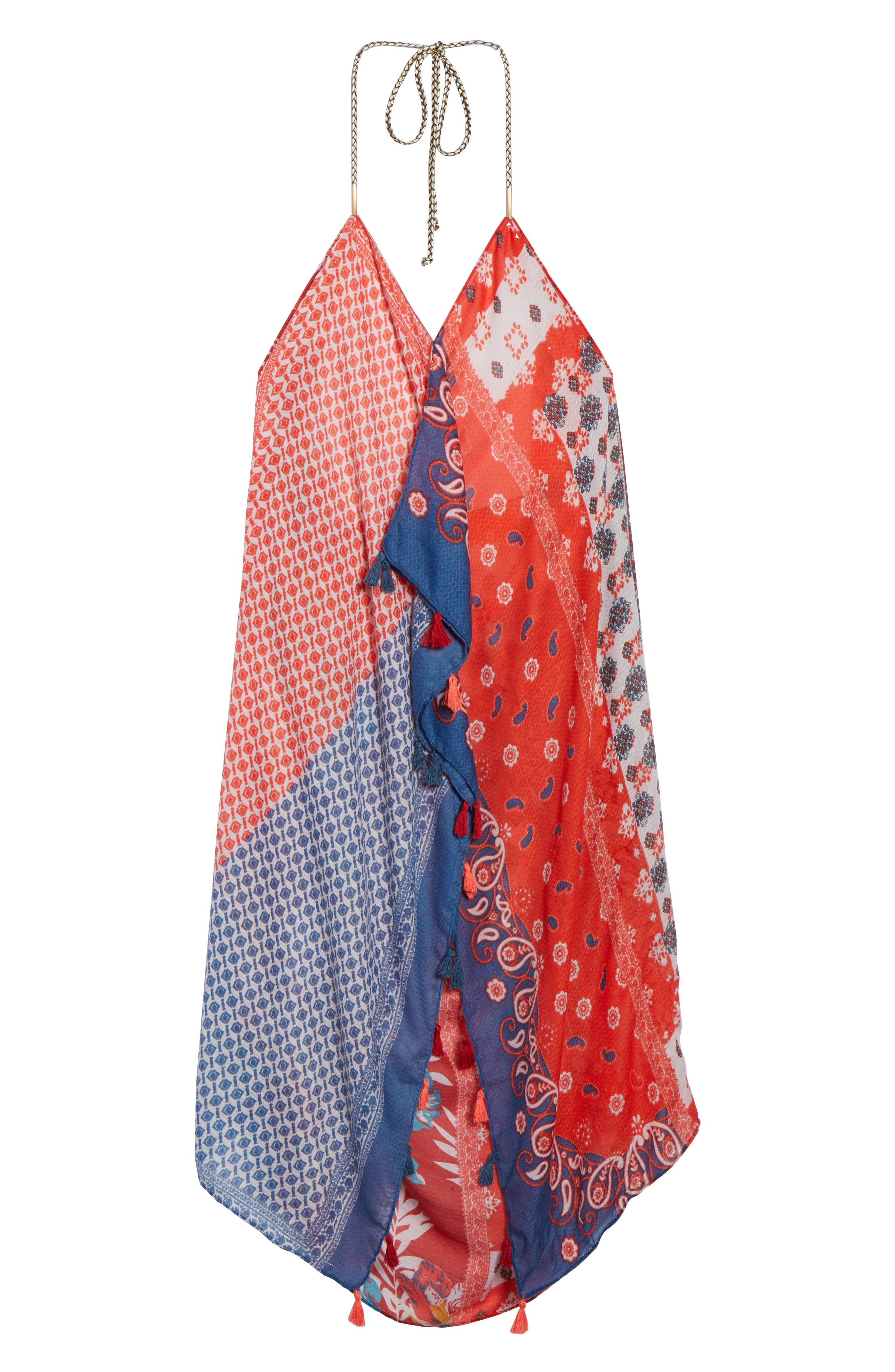 Beach to Street Cover-Up Maxi Dress,                             Alternate thumbnail 6, color,                             Red Multi