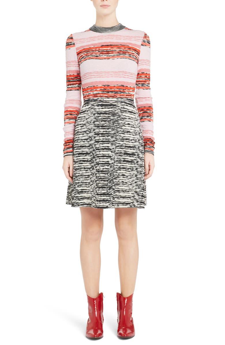 Mixed Pattern Wool Blend Dress
