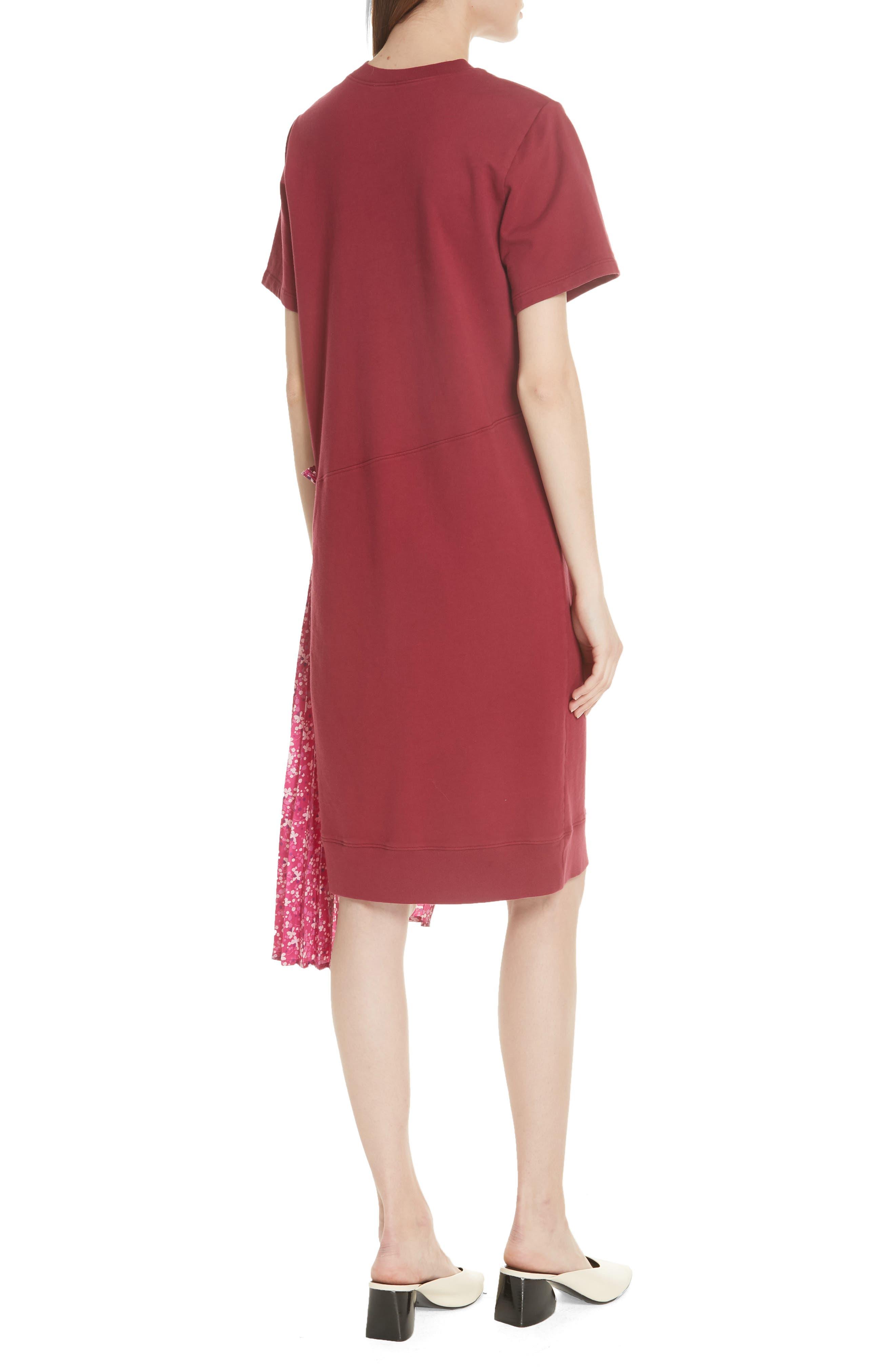 Floral Side Pleat Dress,                             Alternate thumbnail 2, color,                             Carmine