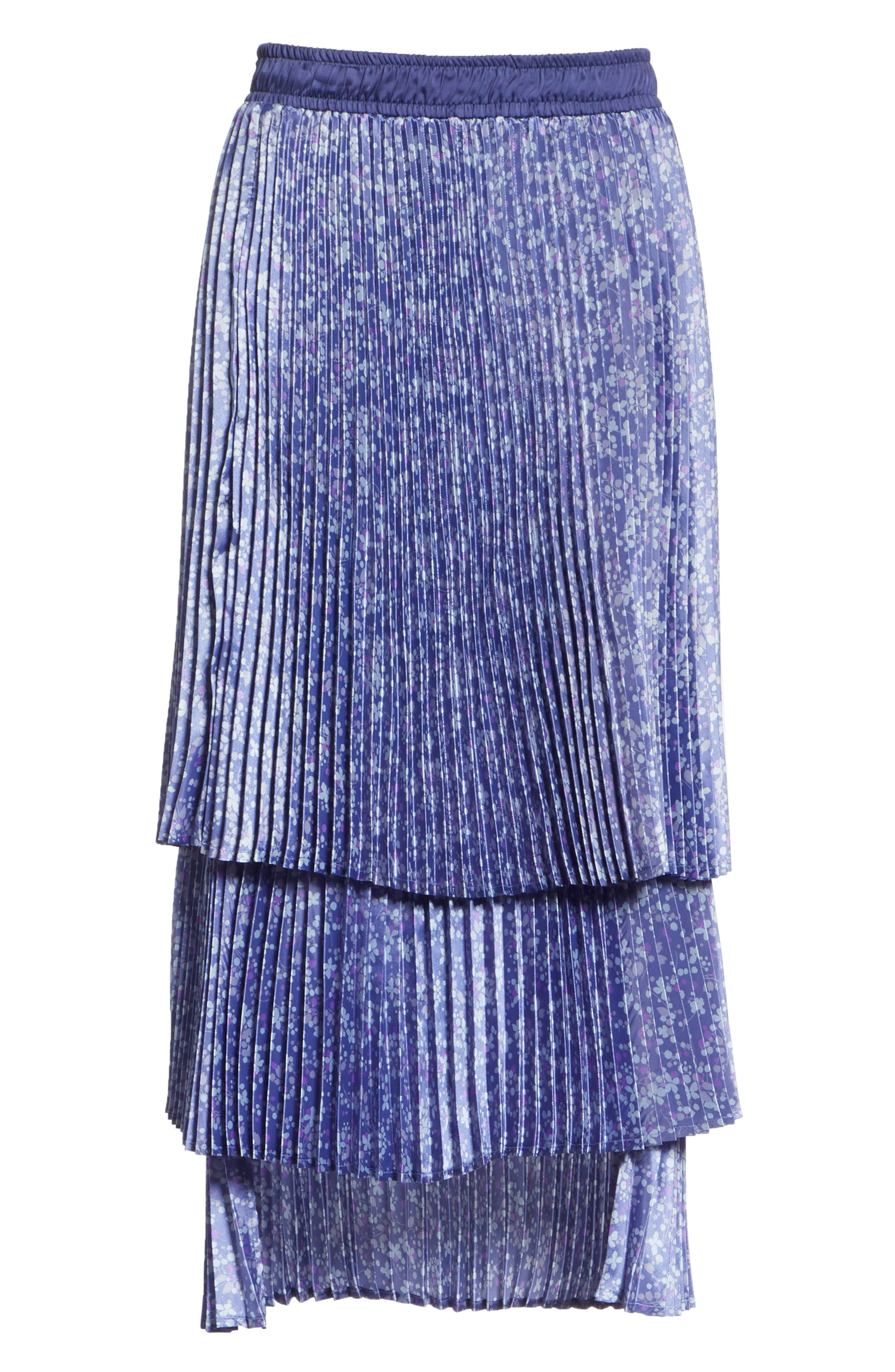 Floral Pleat Skirt,                             Alternate thumbnail 6, color,                             Blue