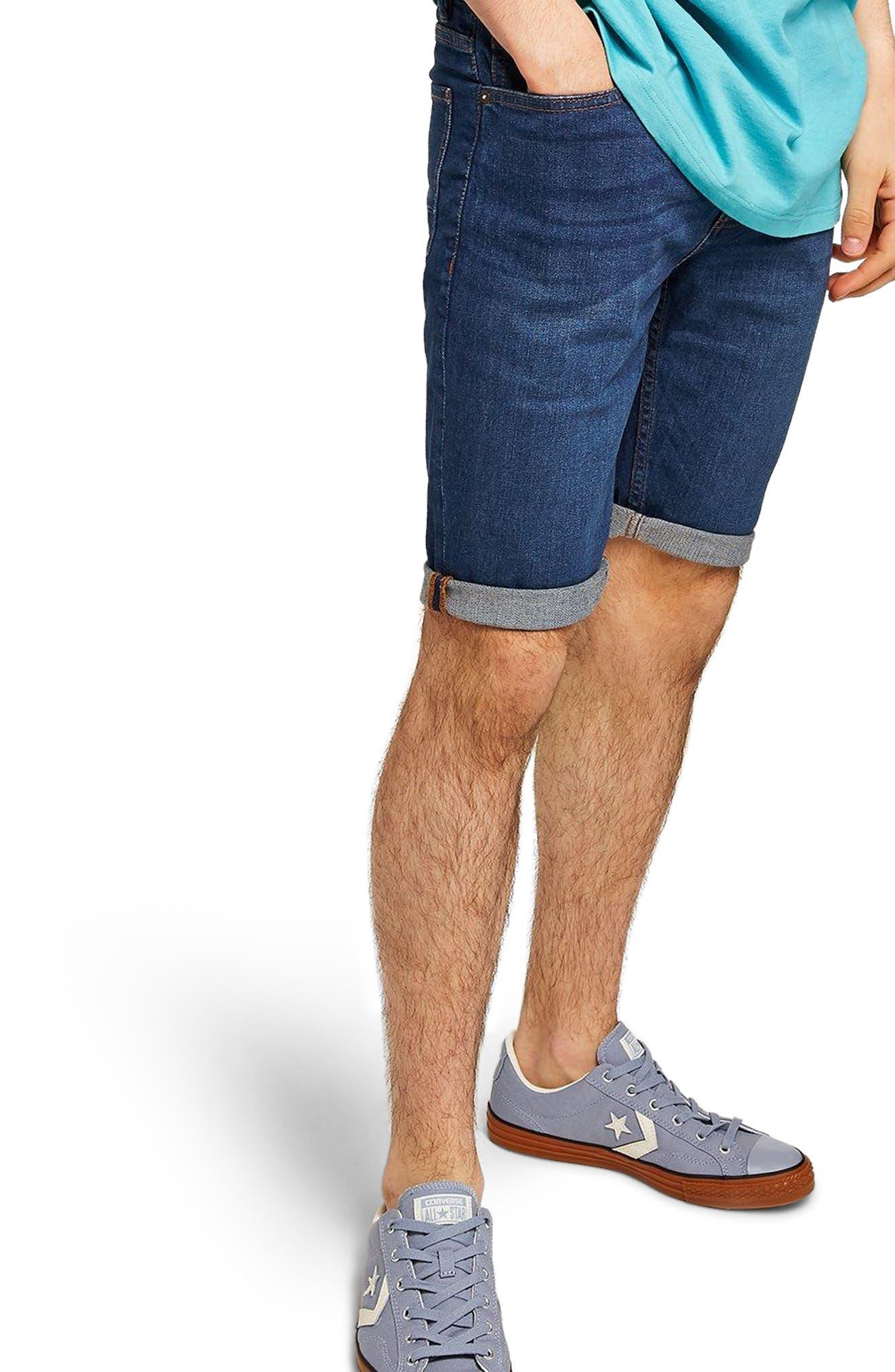 Skinny Fit Denim Shorts,                             Main thumbnail 1, color,                             Blue