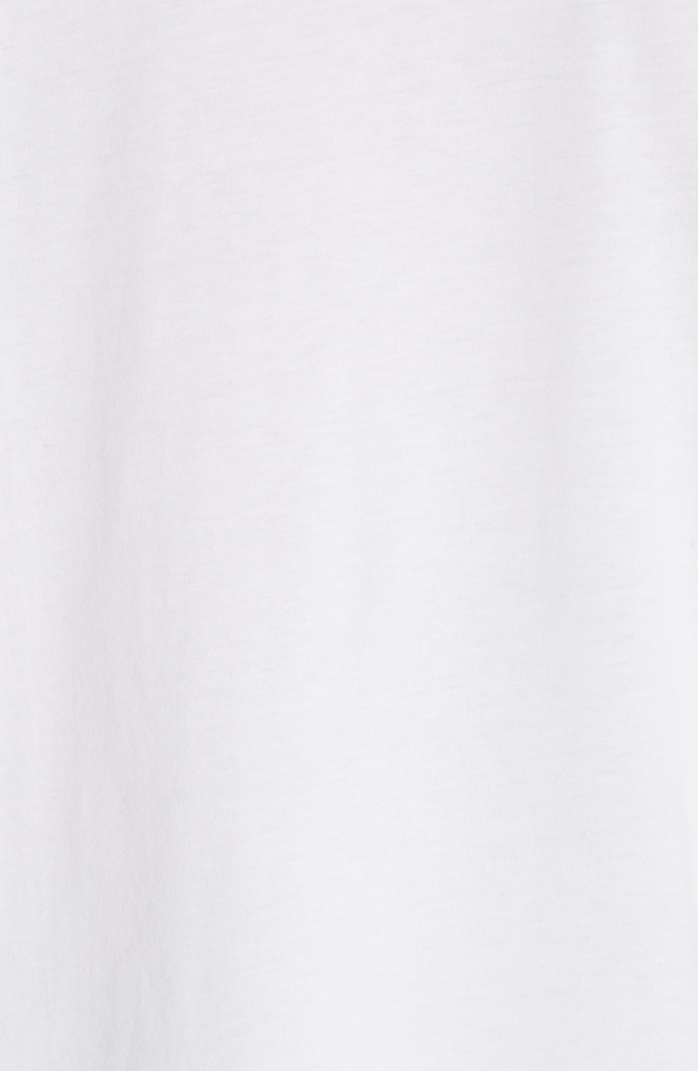 Stripe Ruffle Trim Tee,                             Alternate thumbnail 5, color,                             White