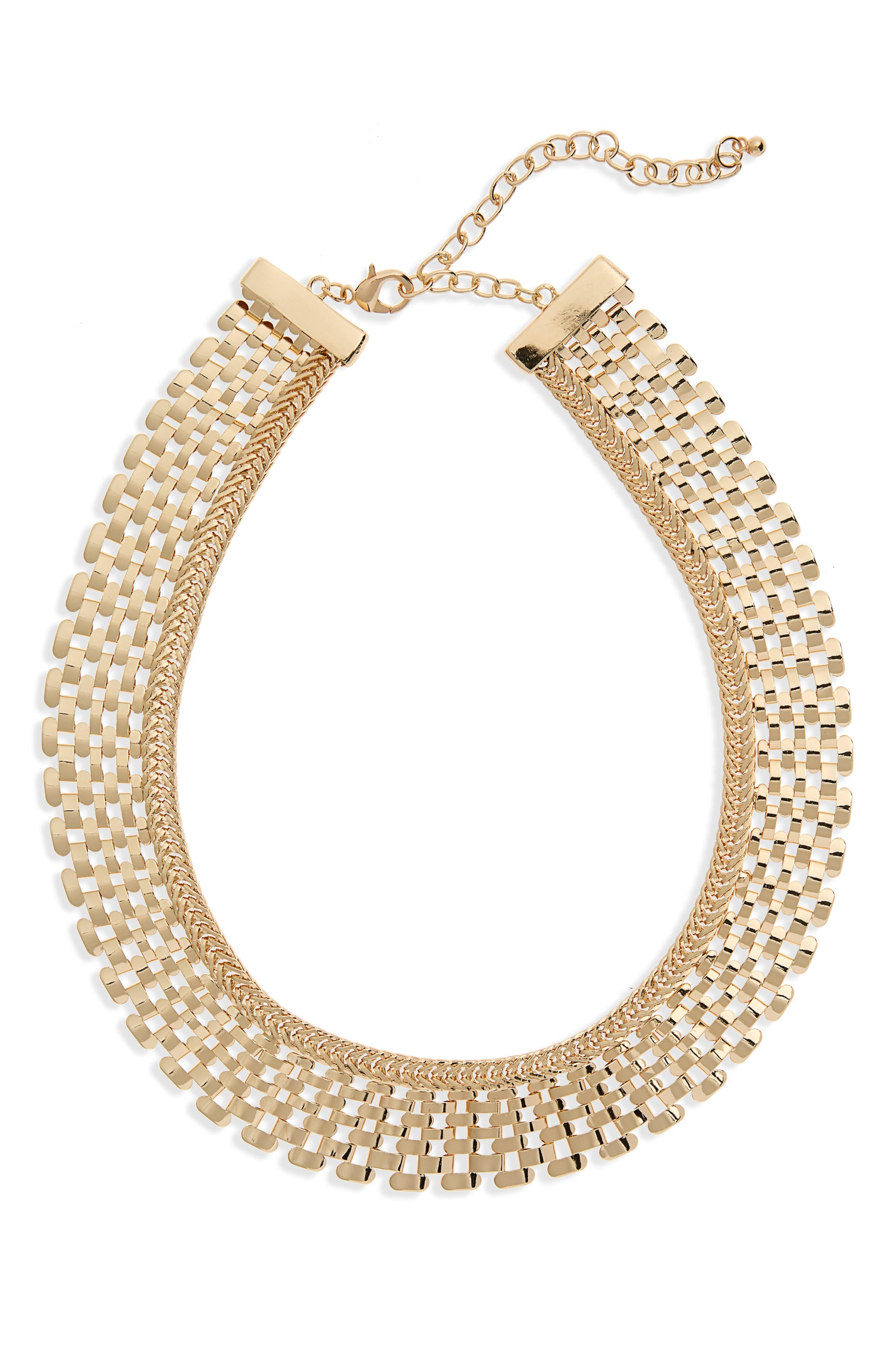 Metal Collar Necklace,                         Main,                         color, Gold