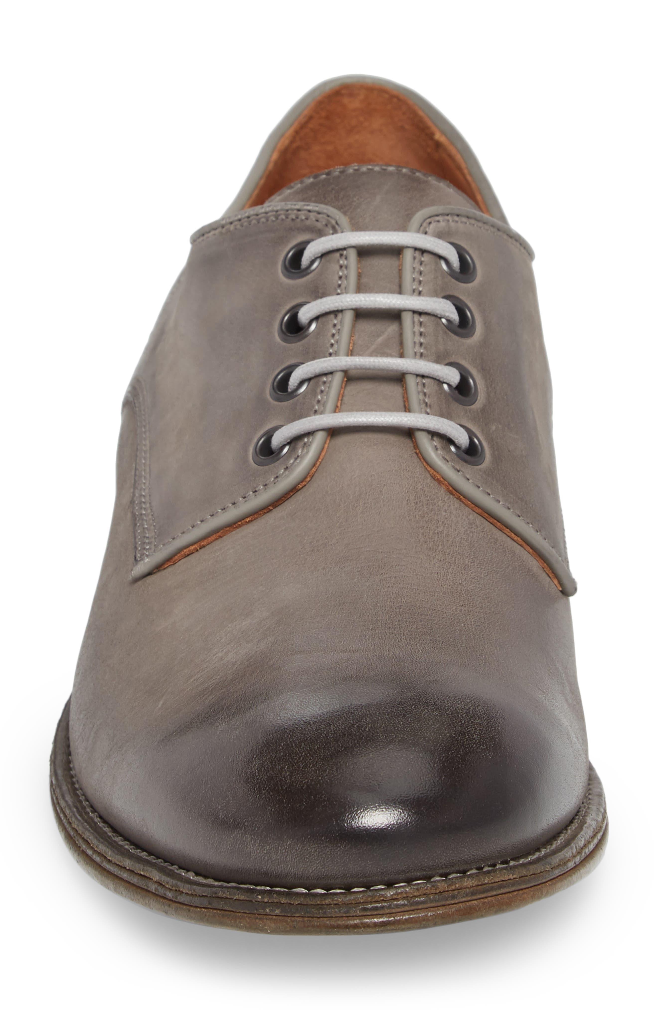 John Varvatos Stanton Plain Toe Derby,                             Alternate thumbnail 4, color,                             Ash Leather
