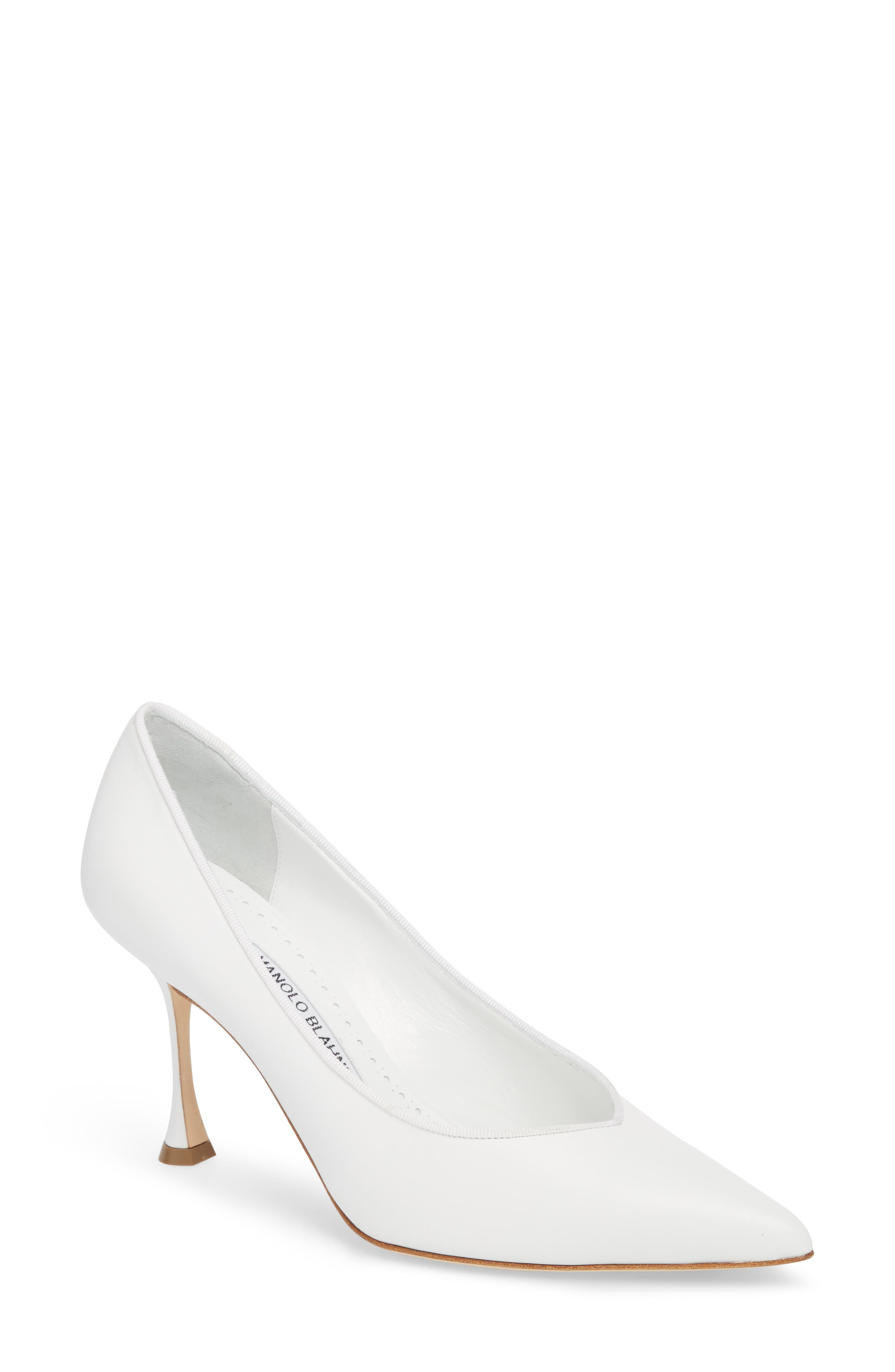 Urgenzapla Pointy Toe Pump,                         Main,                         color, White Leather