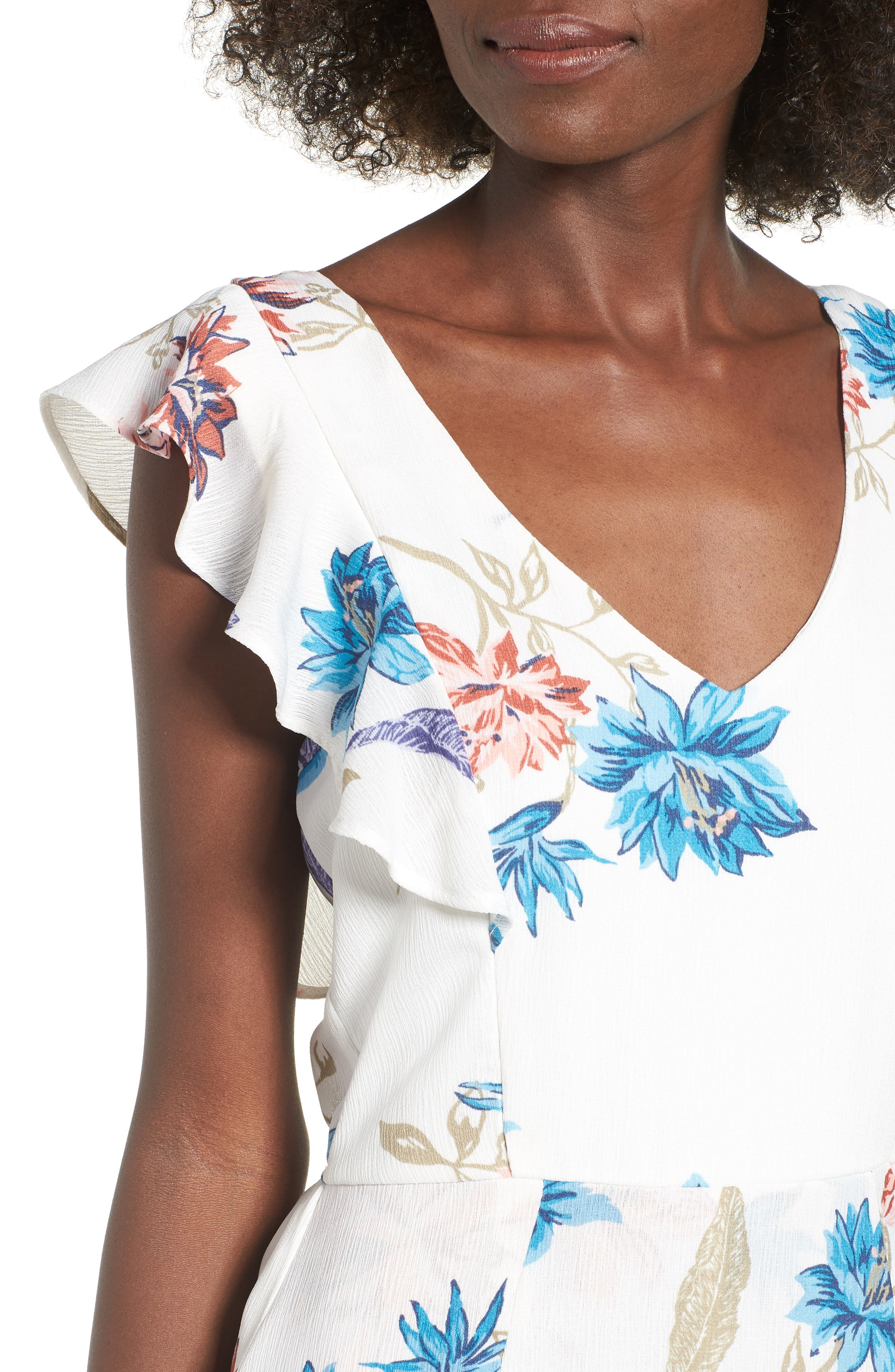 Floral Maxi Dress,                             Alternate thumbnail 4, color,                             White