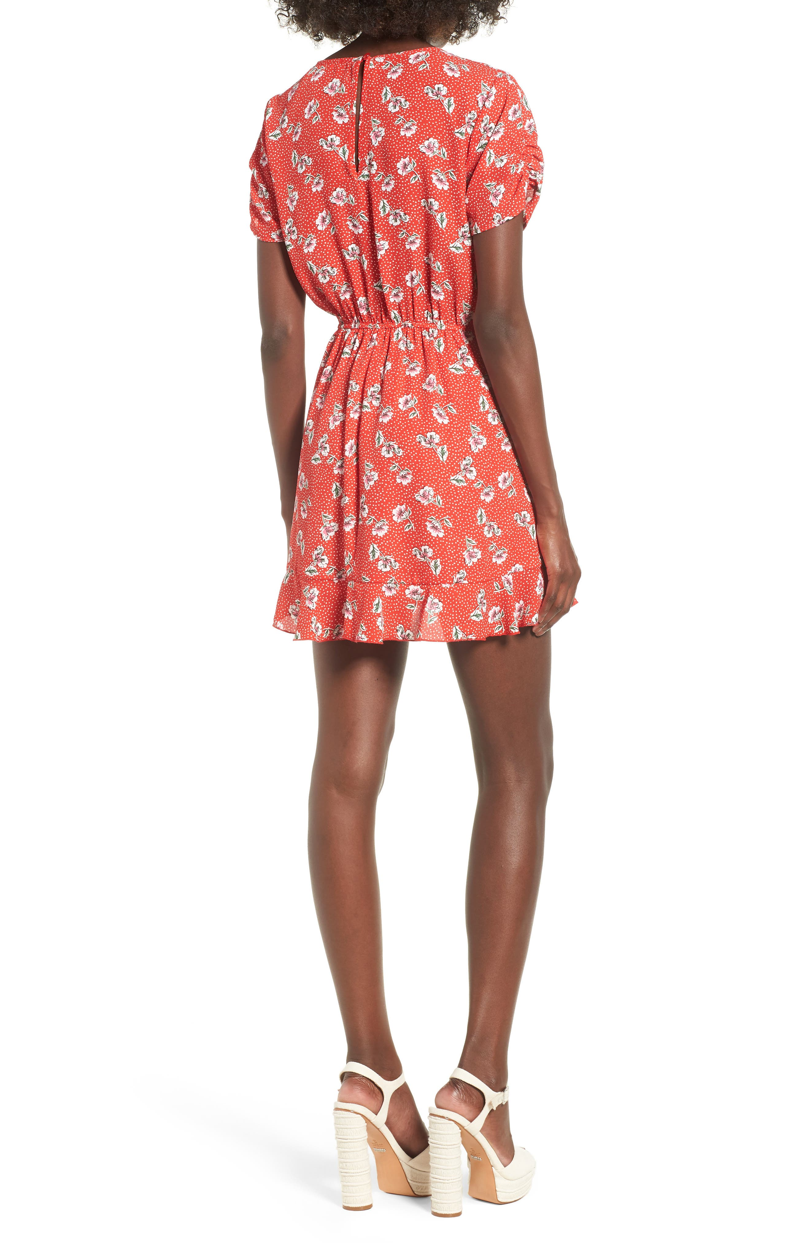 Floral Print Romper,                             Alternate thumbnail 2, color,                             Red