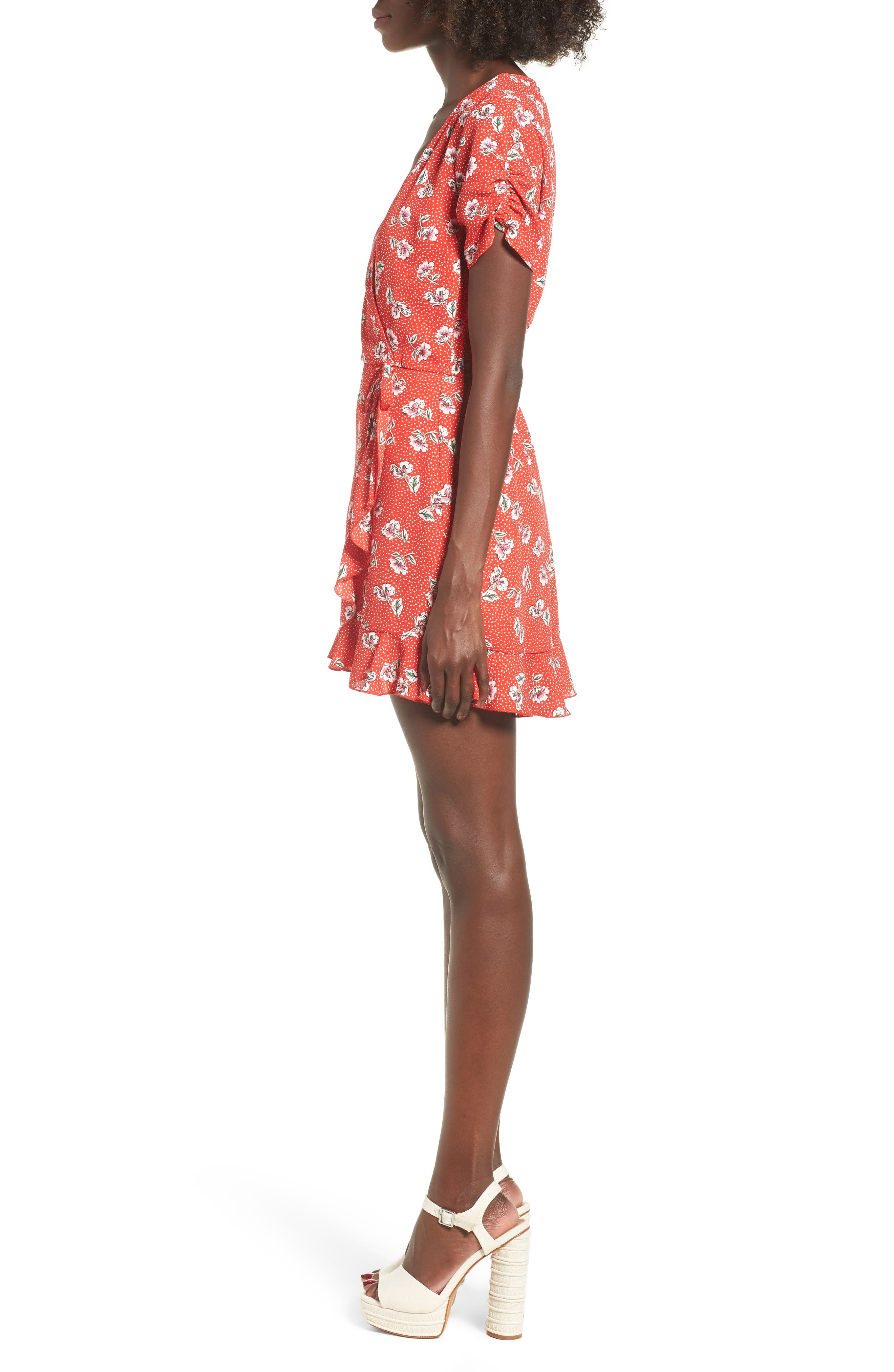 Floral Print Romper,                             Alternate thumbnail 3, color,                             Red