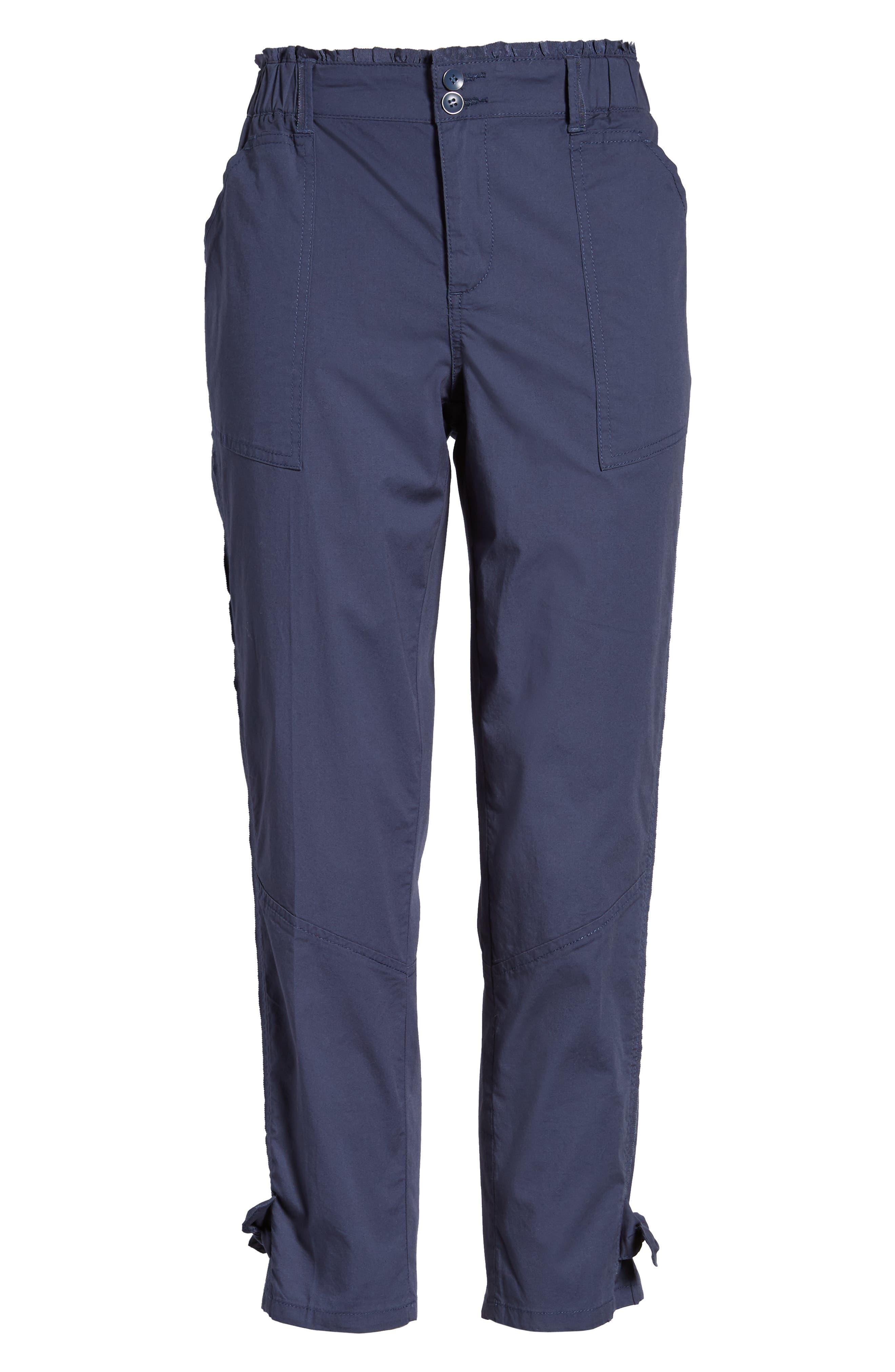 Tie Cuff Stretch Cotton Crop Pants,                             Alternate thumbnail 7, color,                             Ensign Blue