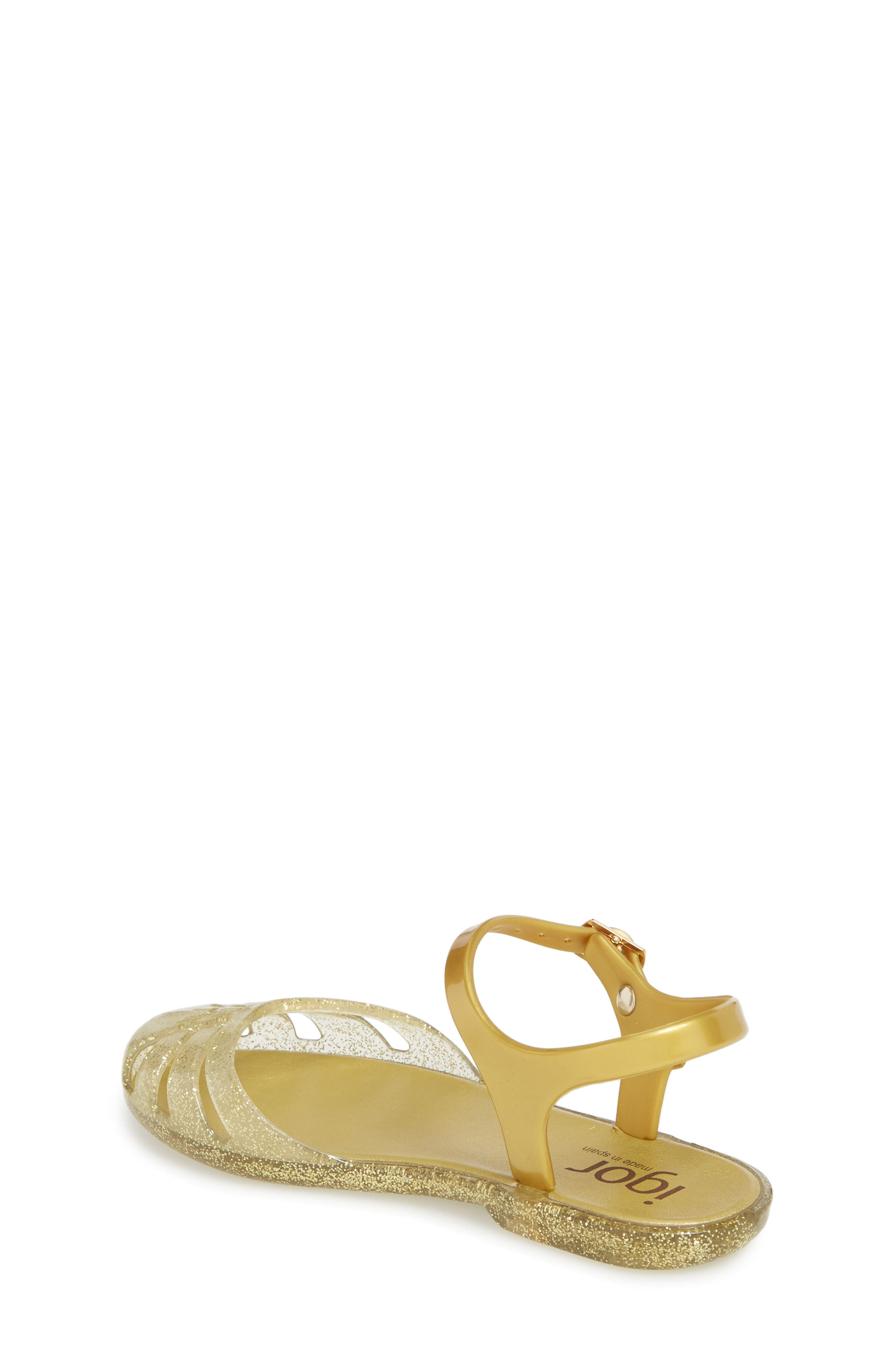 'Mara Mini' Glitter Jelly Sandal,                             Alternate thumbnail 2, color,                             Gold Glitter