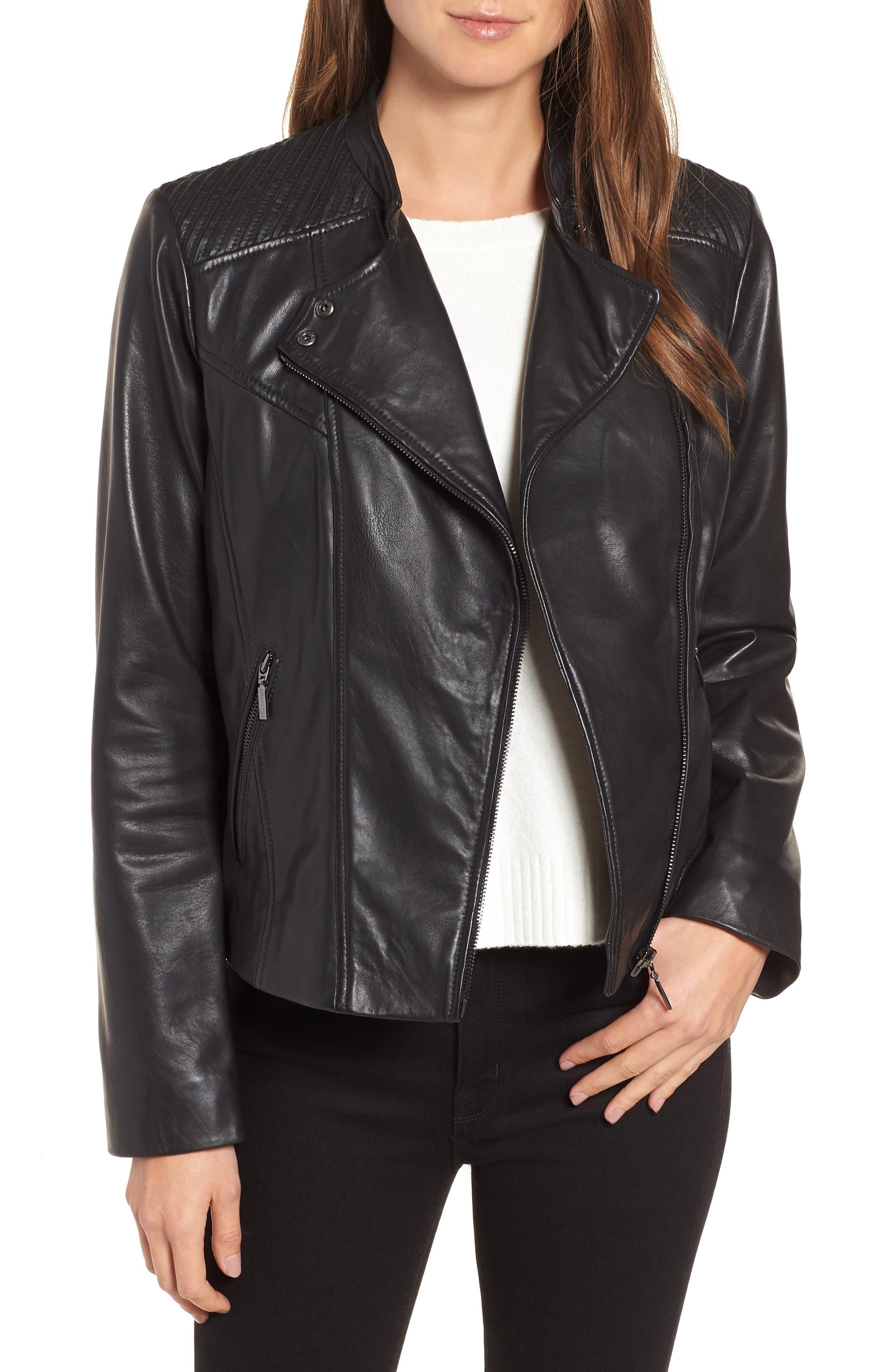 BERNARDO Shoulder Detail Leather Moto Jacket in Black