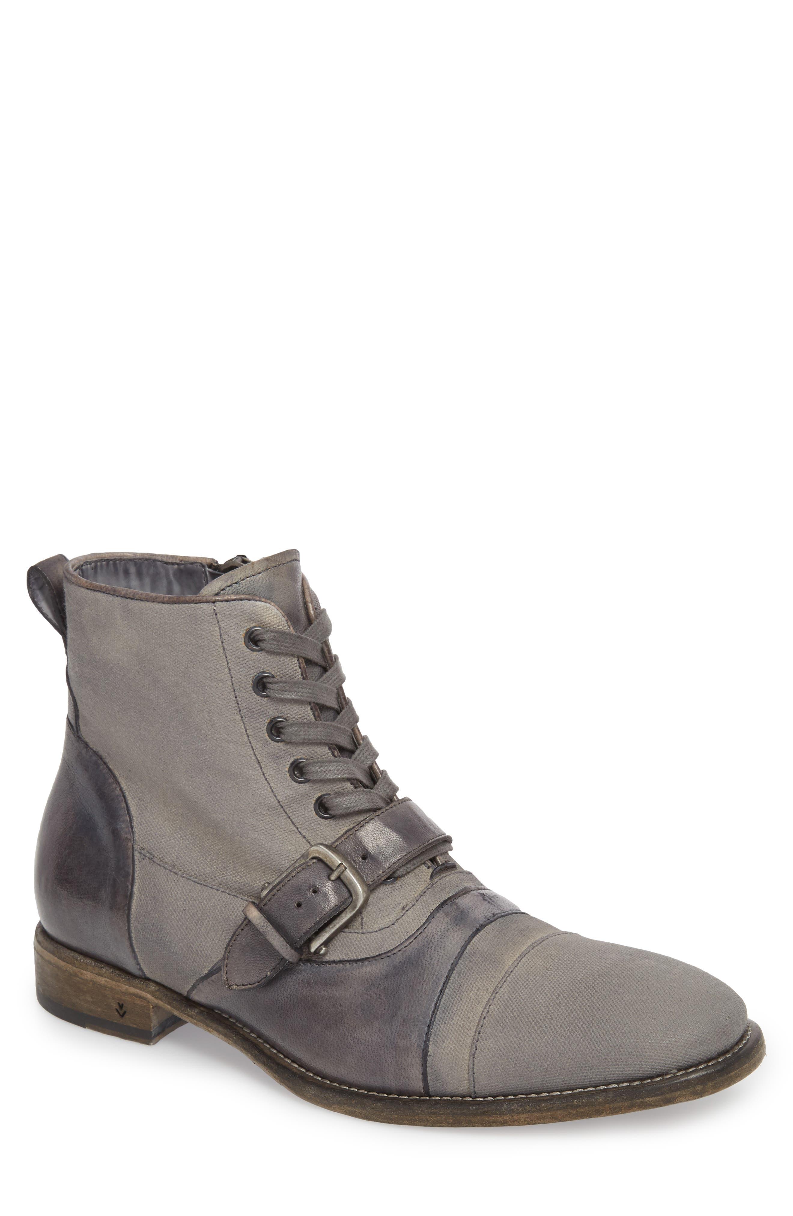 John Varvatos Fleetwood Buckle Cricket Boot,                         Main,                         color, Lead Canvas/ Leather