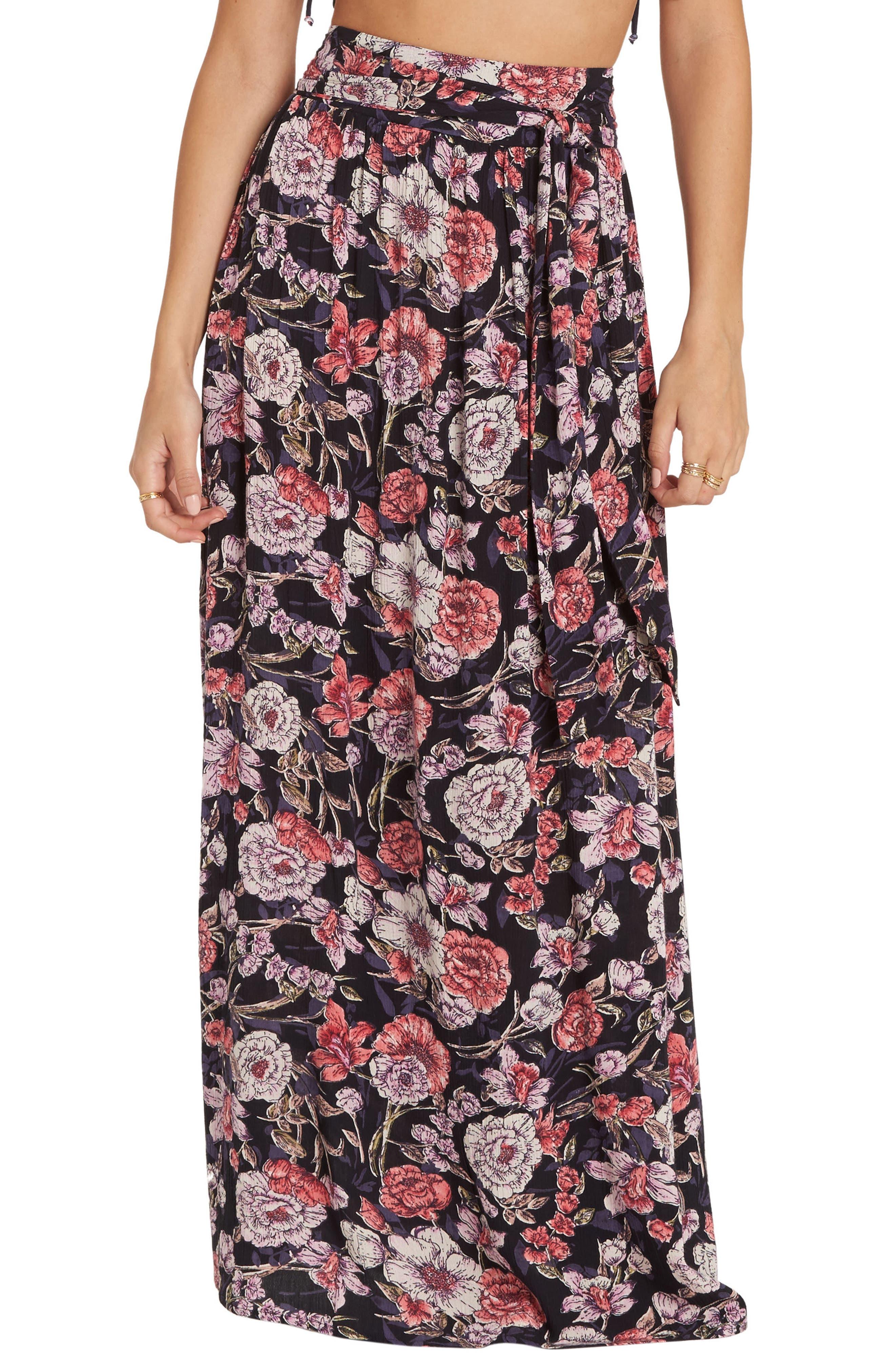 Billabong High Tides Floral Print Maxi Skirt