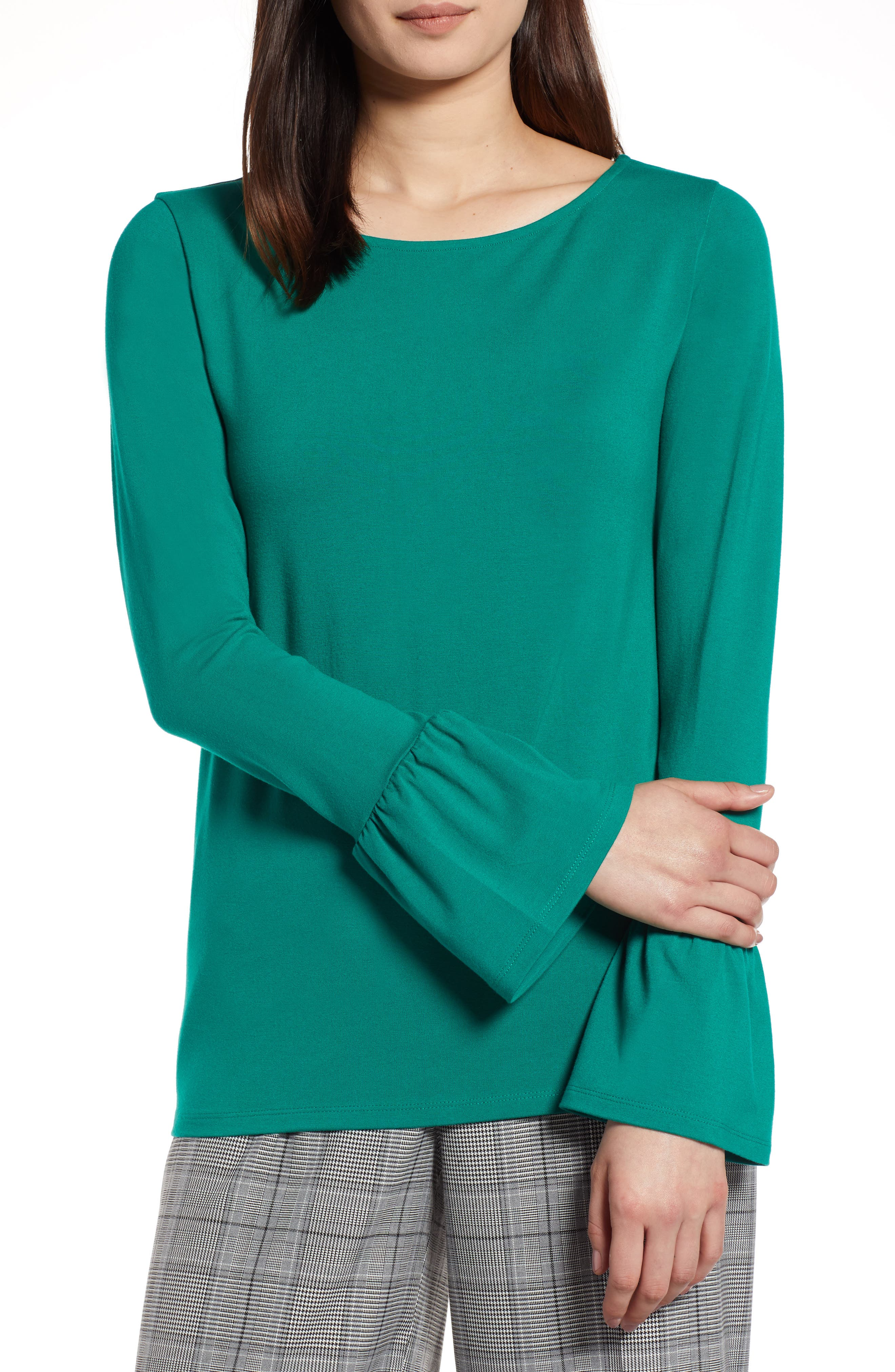 Bell Sleeve Knit Top,                         Main,                         color, Green Ultra