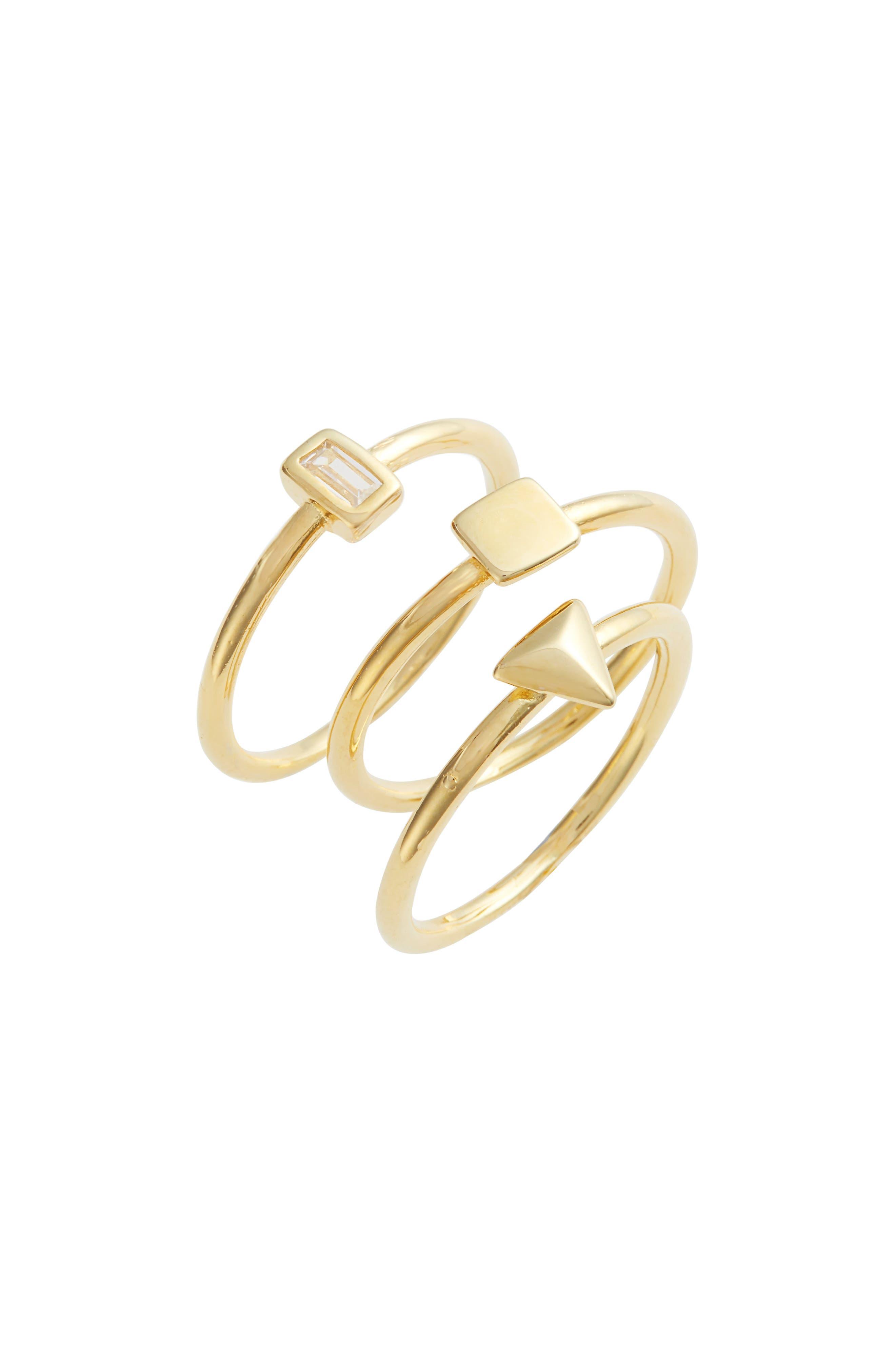 Kai Set of 3 Geometric Rings,                             Main thumbnail 1, color,                             Gold