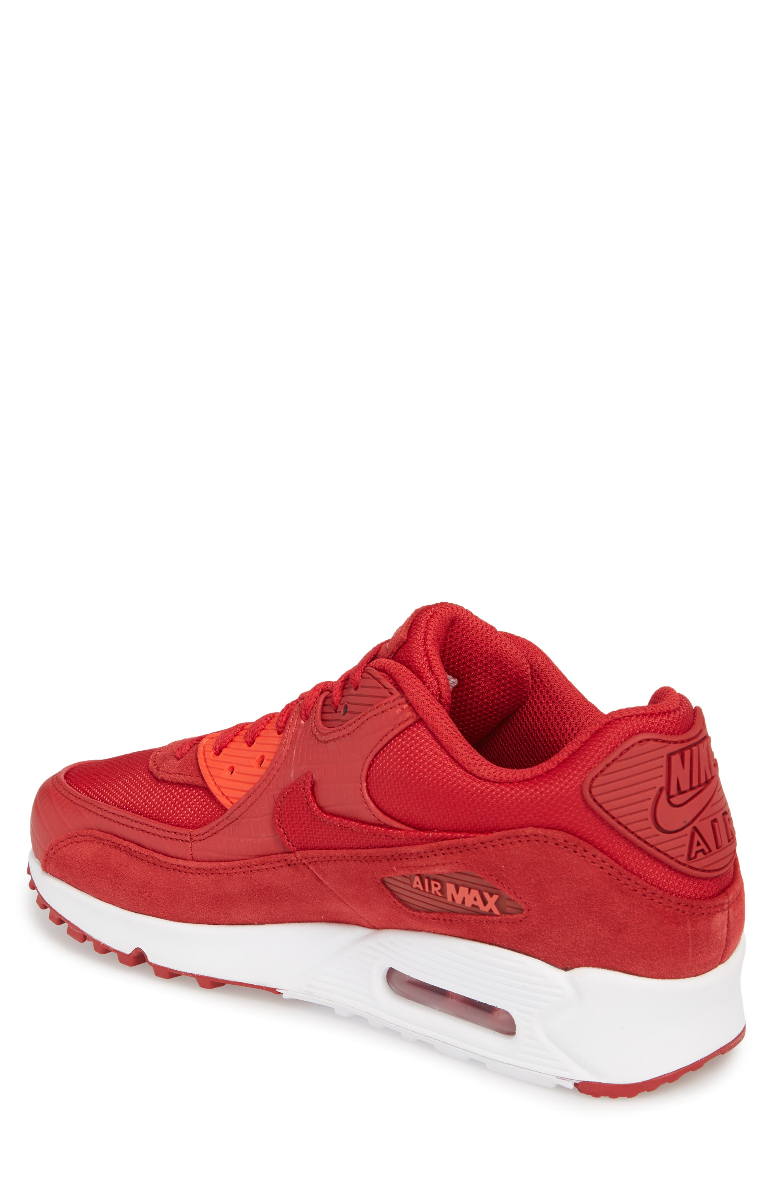 Air Max 90 Premium Sneaker,                             Alternate thumbnail 2, color,                             Gym Red/ White