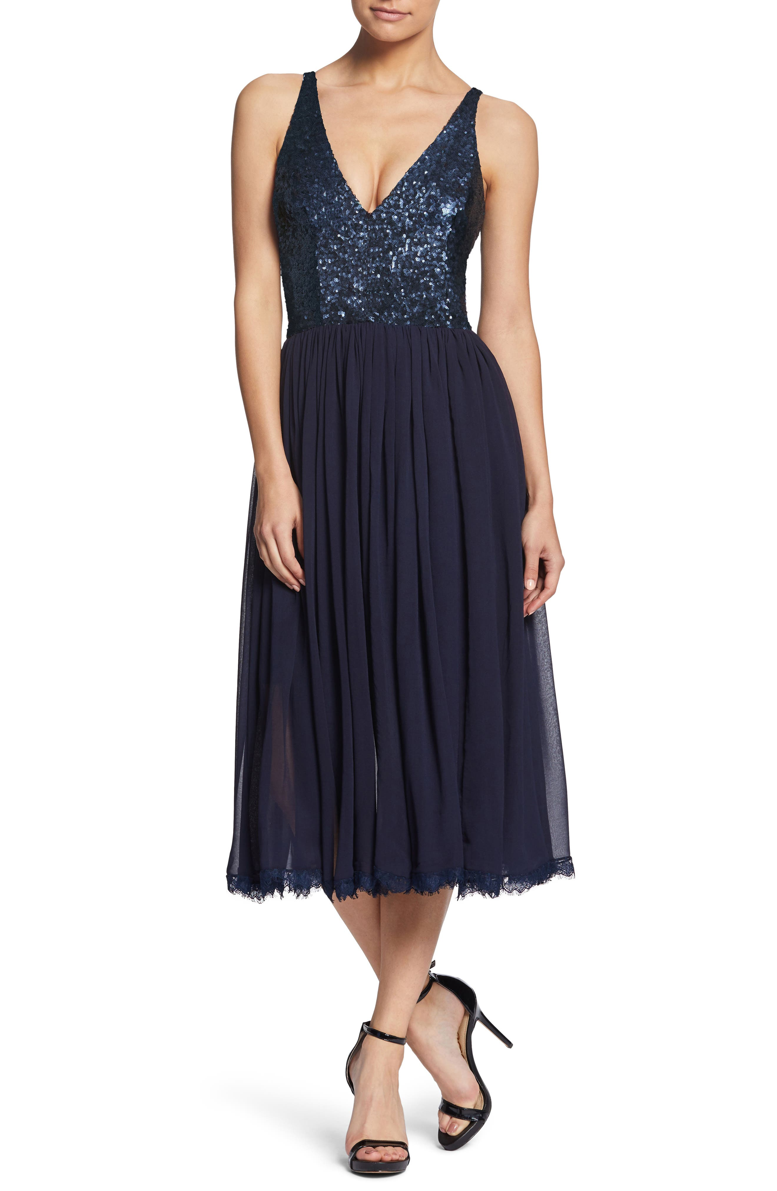 Tracy Plunging Sequin Bodice Tea Length Dress,                             Main thumbnail 1, color,                             Navy
